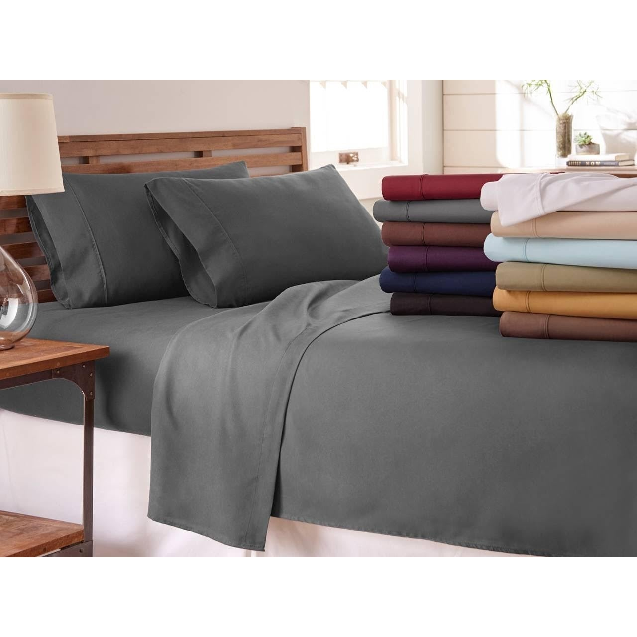 Shop Soft Essentials Ultra Soft 4 Piece Bed Sheet Set   On Sale   Free  Shipping On Orders Over $45   Overstock.com   10528039