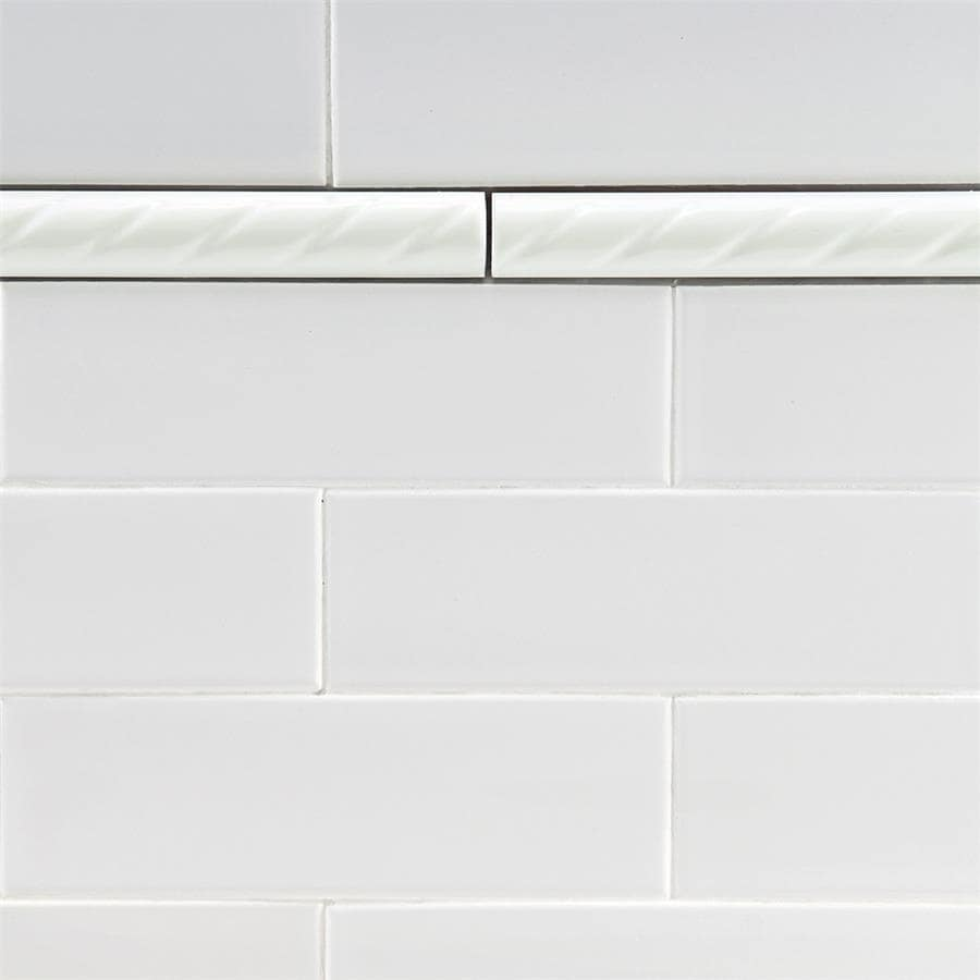 Somertile 1x9 75 Inch Cuerda White Ceramic Pencil Wall Trim Tile Pack Of 12 Free Shipping On Orders Over 45 17610957