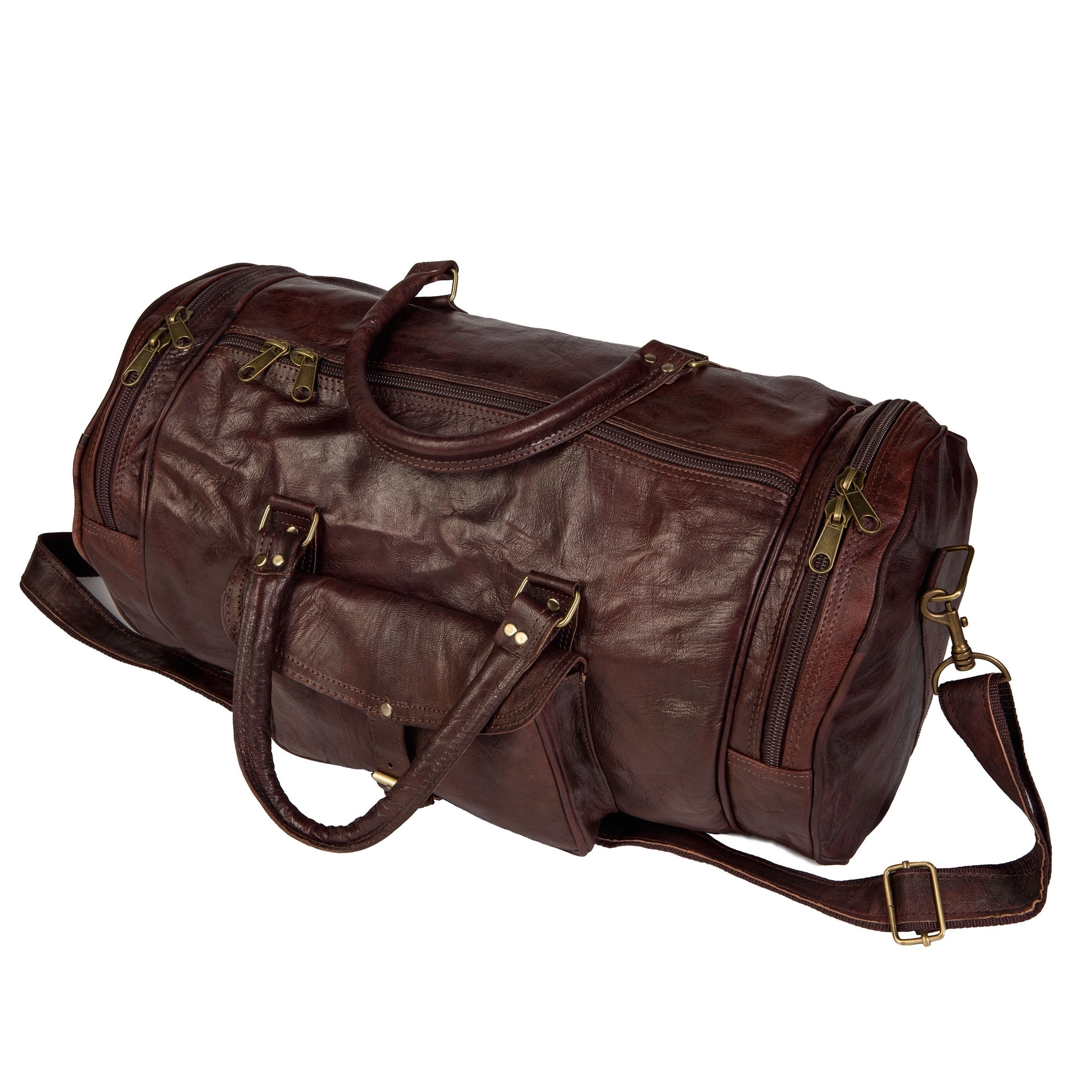 Shop Handmade Round Moroccan Leather Duffel Bag (Morocco) - M - Free  Shipping Today - Overstock - 10529011 3832239668c45