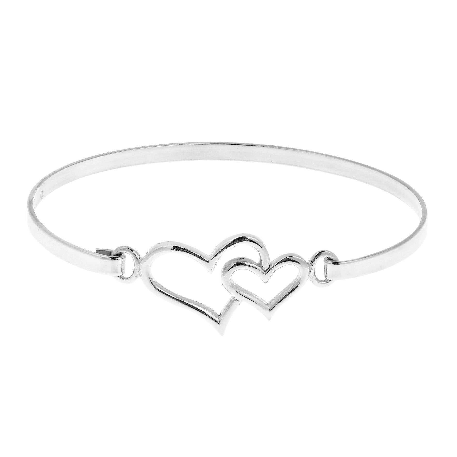 Handmade Double Heart One Love 925 Sterling Silver Bangle Bracelet Thailand On Free Shipping Orders Over 45 10532667