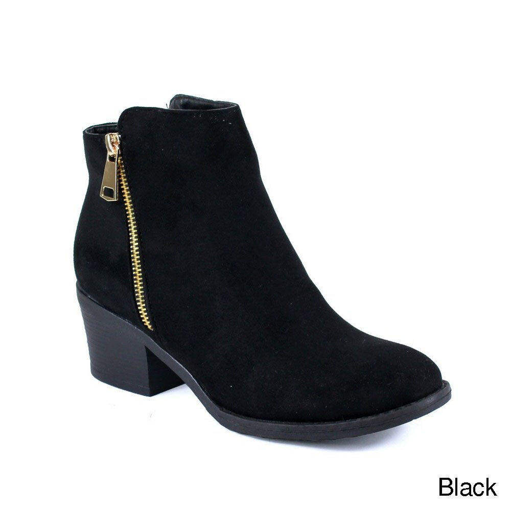 Women's Dressy Pendant Chunky Side Zipper Faux Suede Ankle Booties Medium Heels