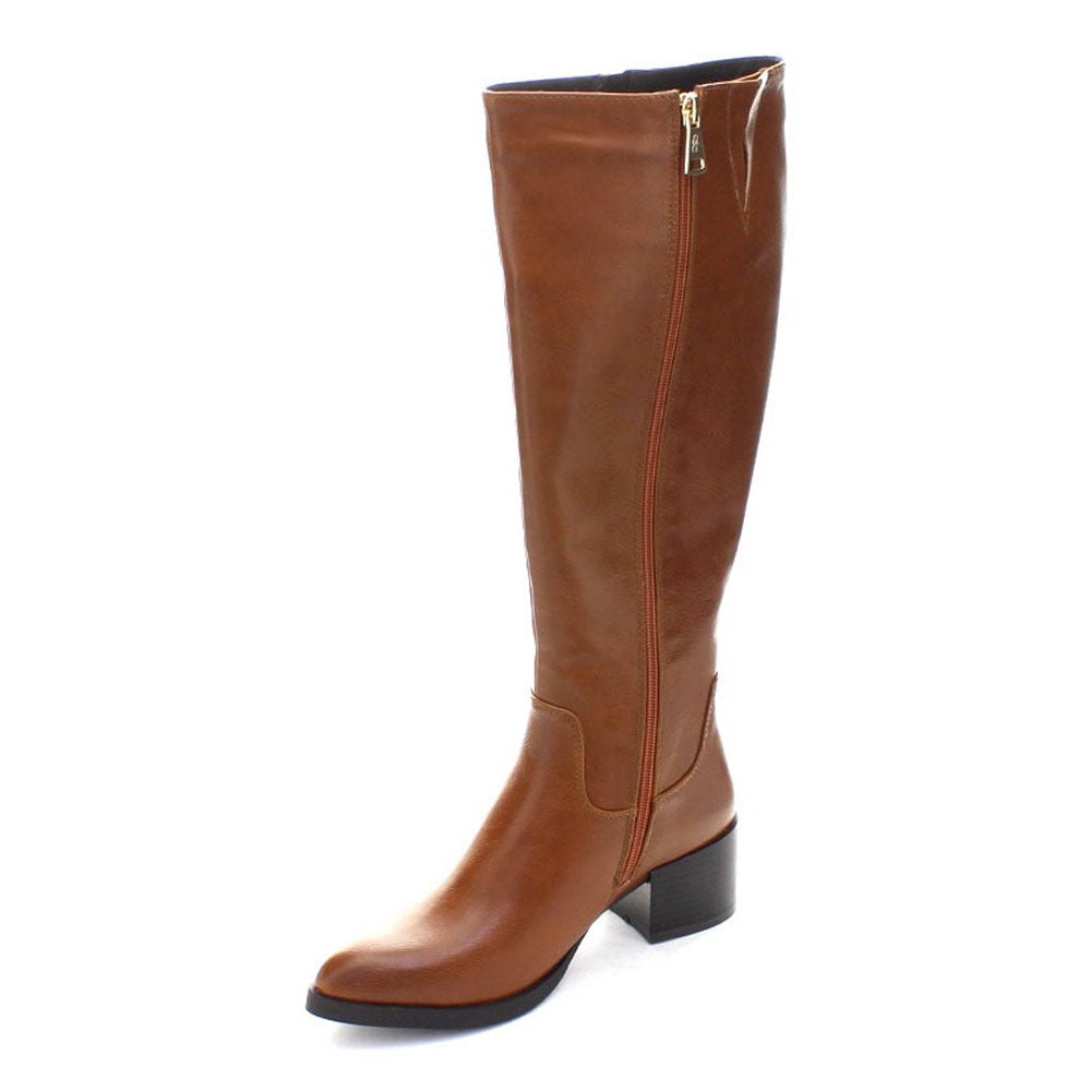 New Women DbDk Doce-1 Leatherette Almond Toe Knee High Zip Riding Boot Size