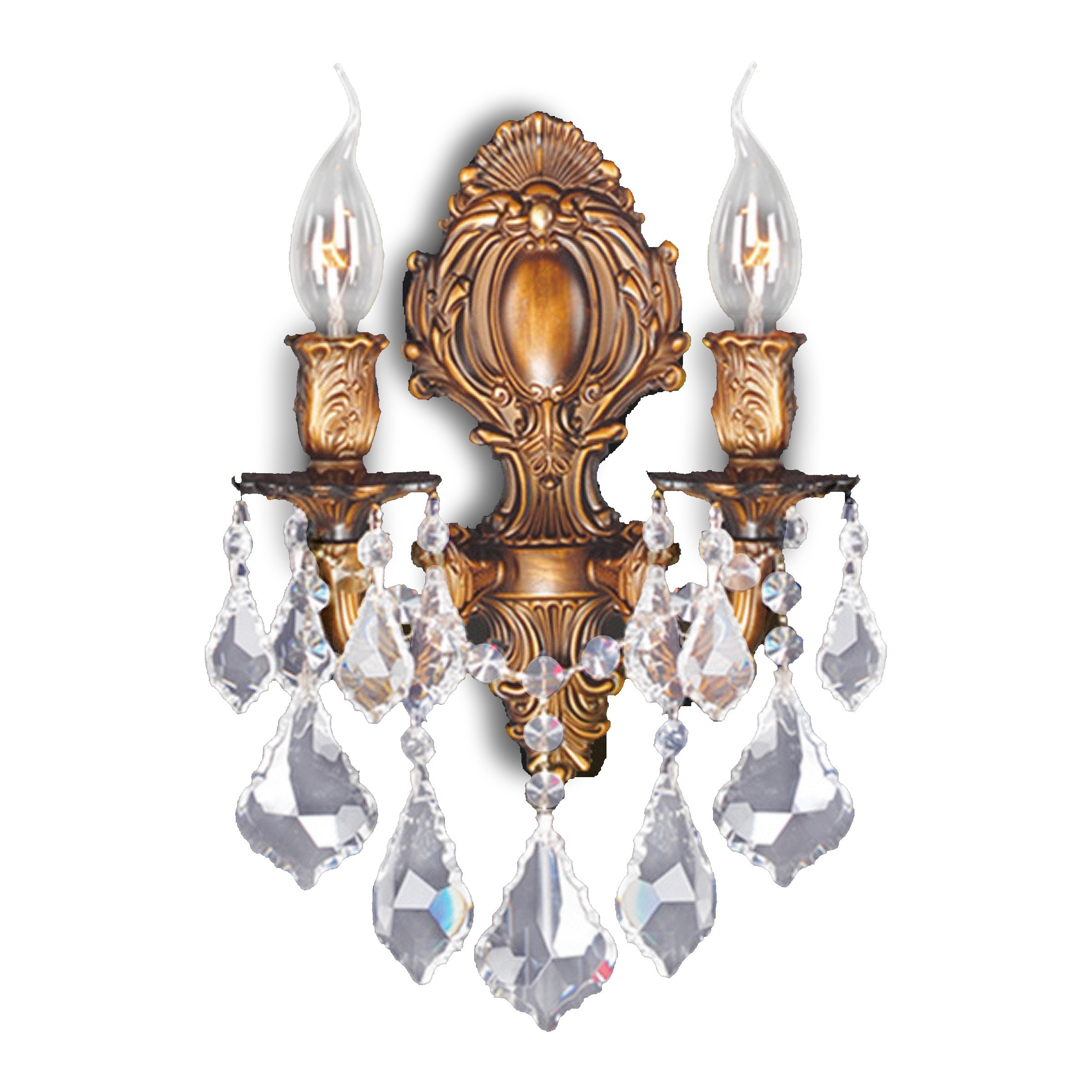 French Royal 2 Light Arm Gold Finish Crystal Candle Wall Sconce On Free Shipping Today 10533258