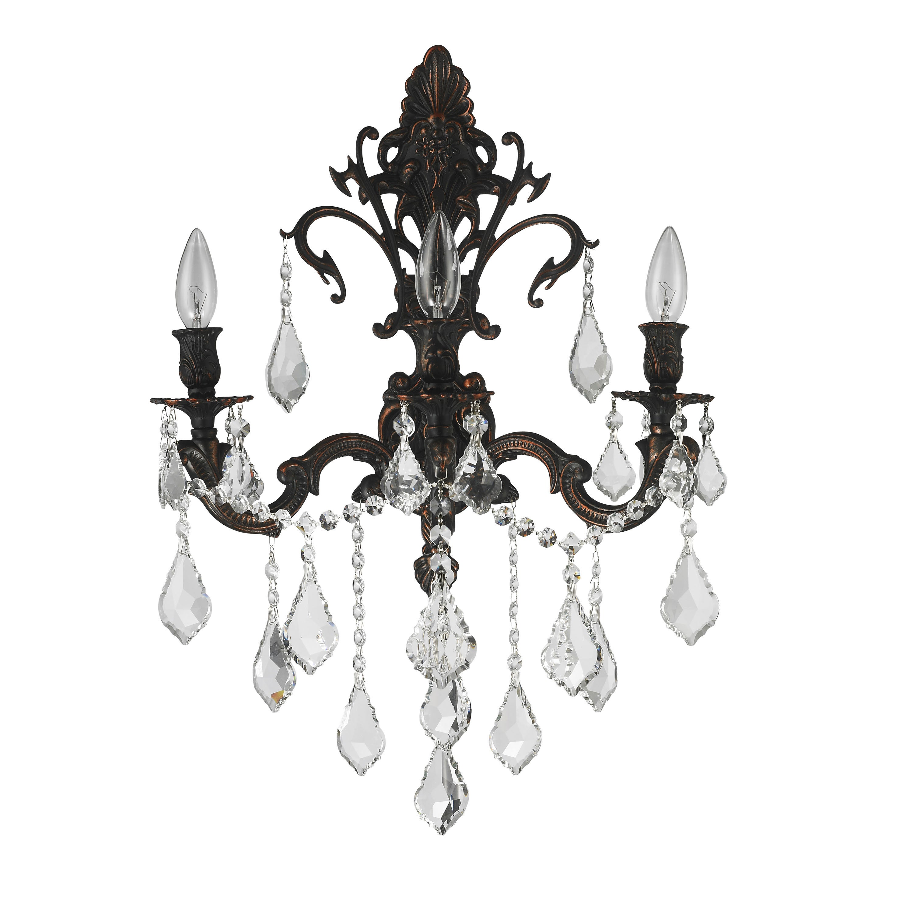 French Royal 3-light Flemish Brass Finish Crystal Candle Wall Sconce Large  - Free Shipping Today - Overstock.com - 17615275