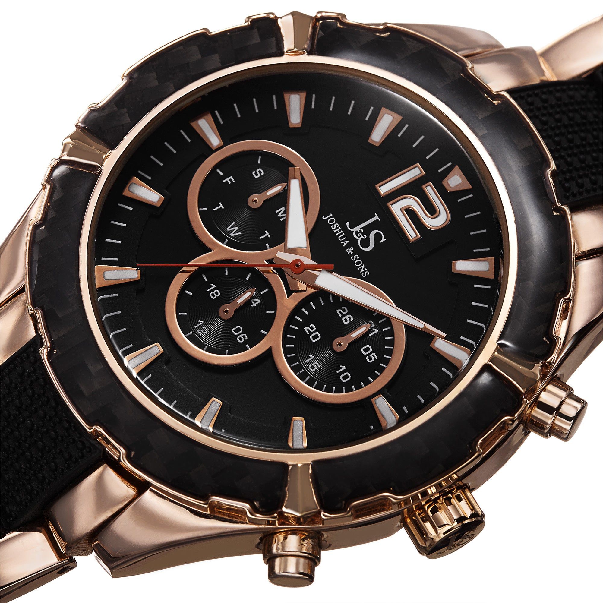 5cd99970577 Joshua   Sons Men s Swiss Quartz Multifunction Dual-Time Rose-Tone Bracelet  Watch - GOLD - Free Shipping Today - Overstock - 17615959