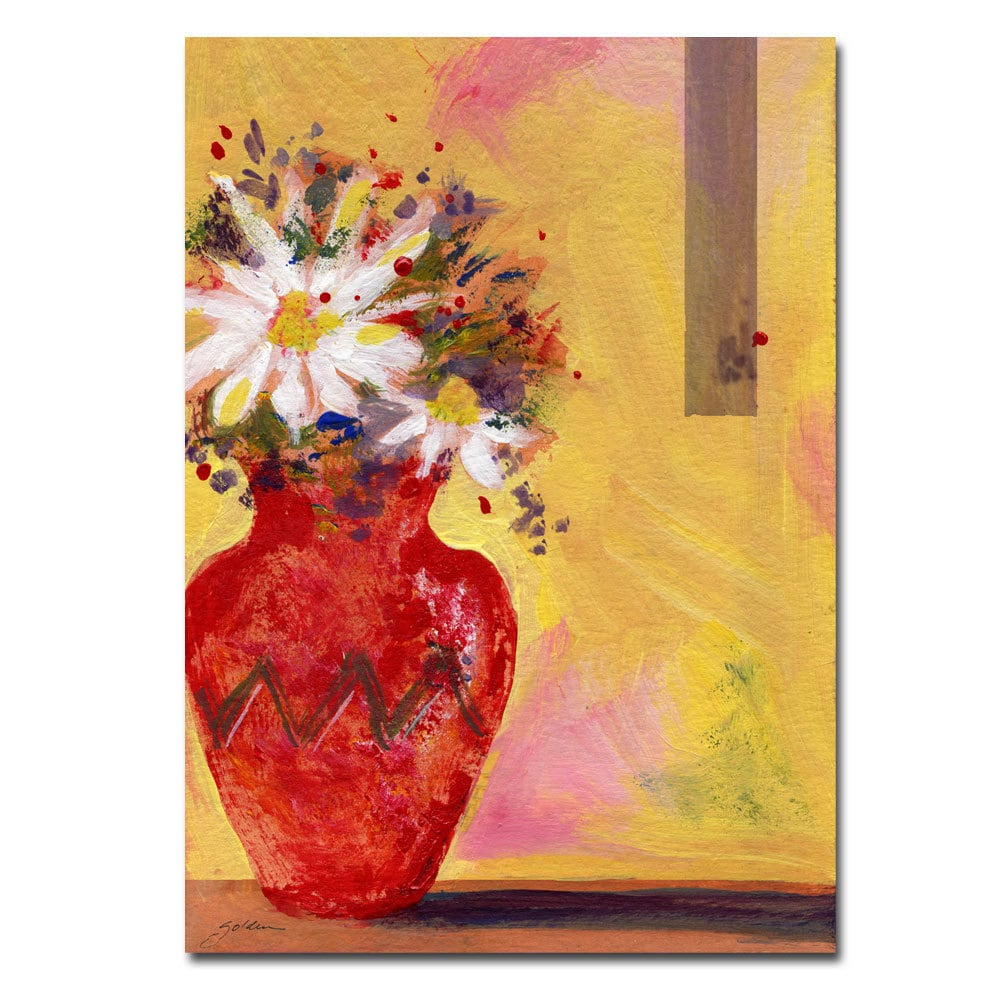 Shop Sheila Golden \'Red Vase with Daisy\' 18x24 Canvas Wall Art - On ...