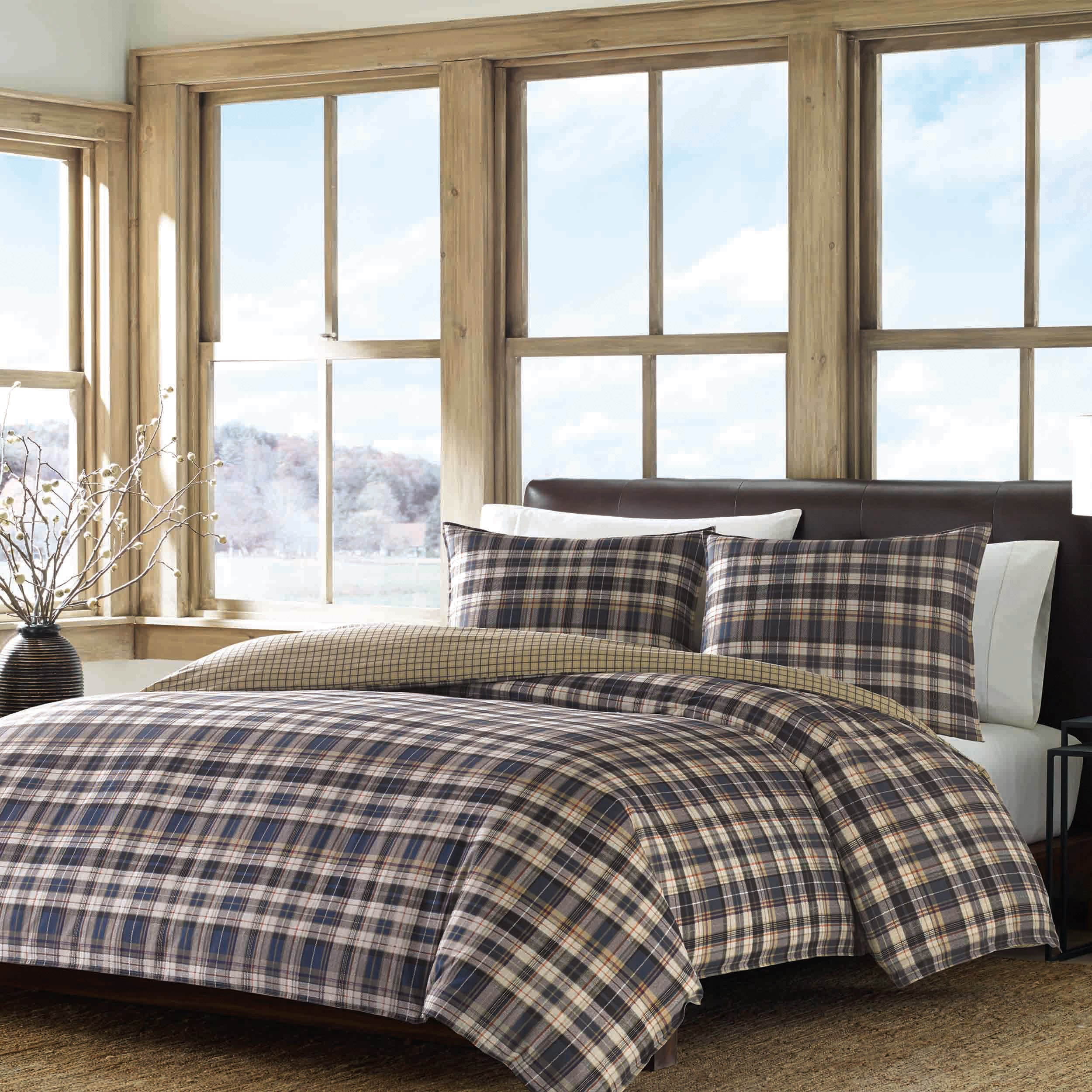 sizes walmart plaid com king ip a set duvet covers mainstays in bag brown bed bedding comforter multiple