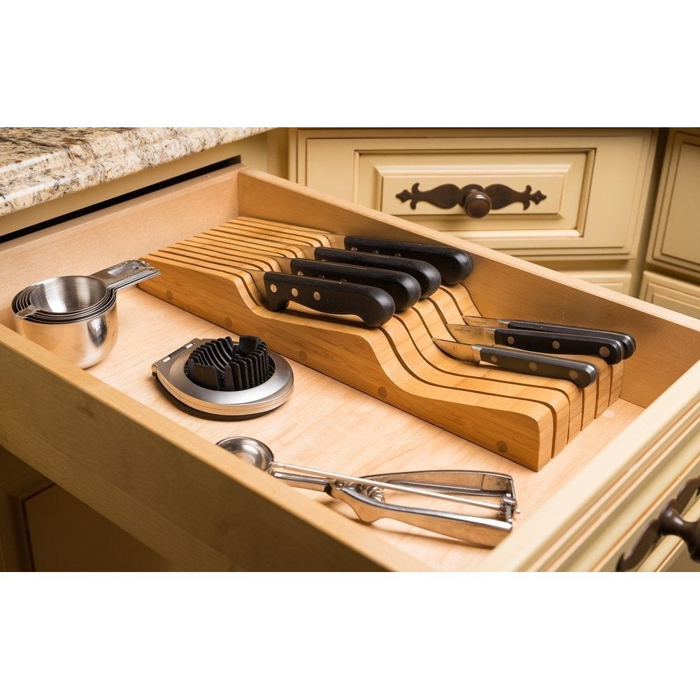 watch tray included holds without drawer not top drawers in block bamboo knives knife