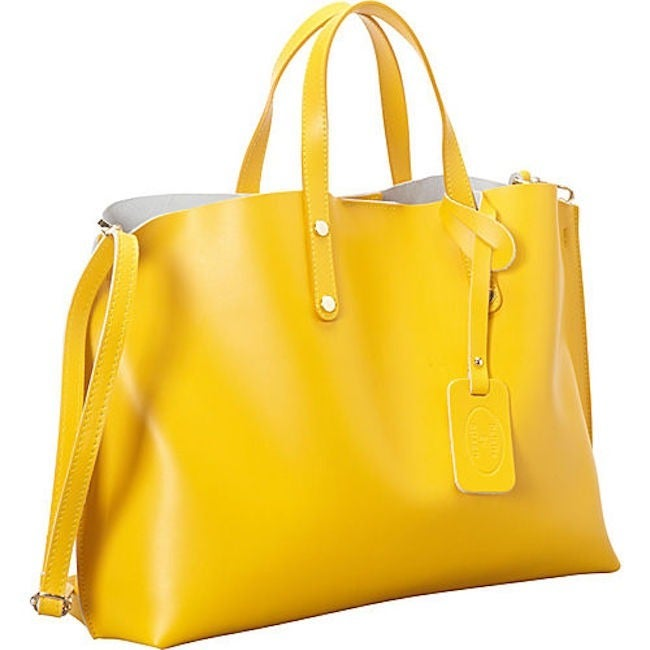 Shop Yellow Italian Leather Tote - Large - Free Shipping Today ...