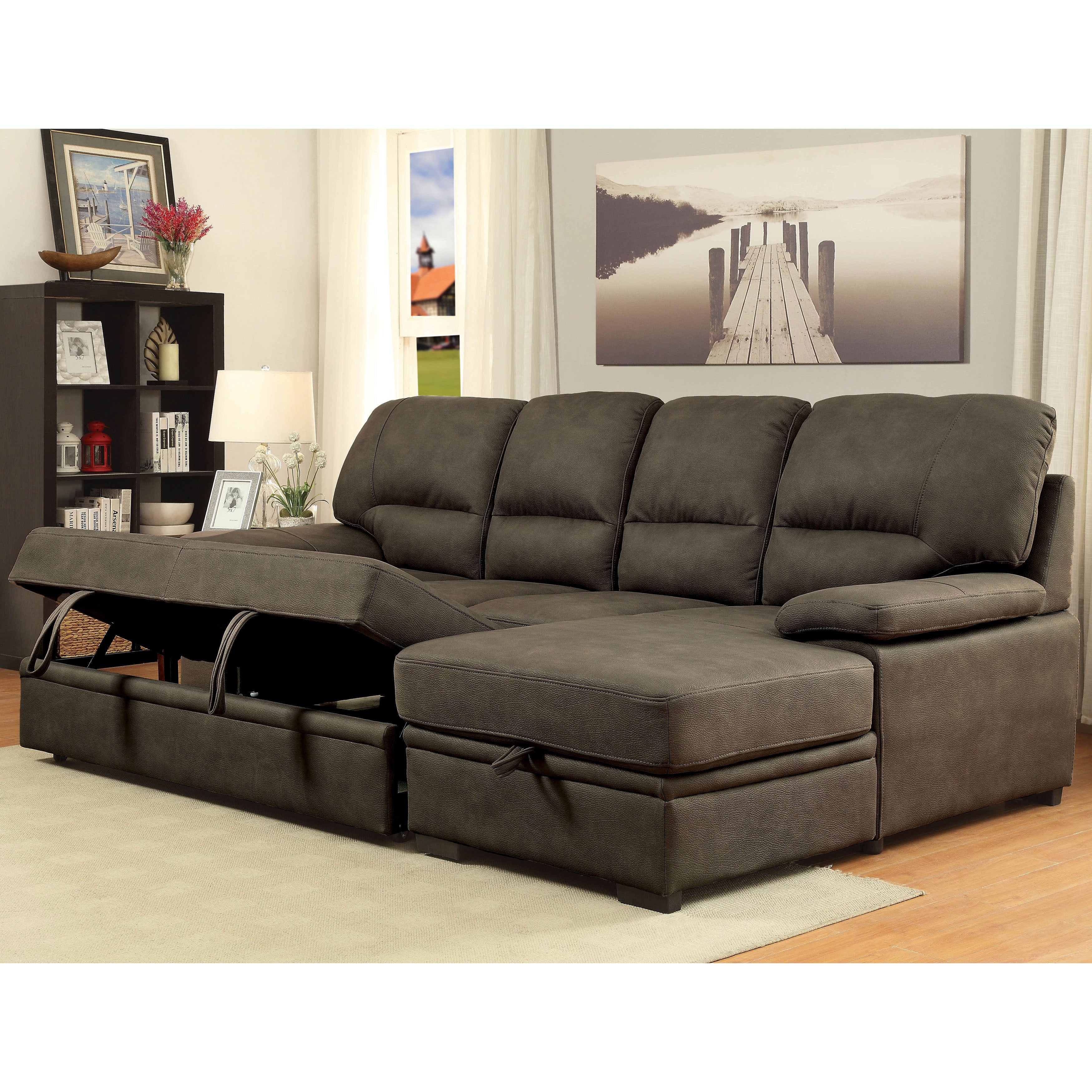 Shop Delton Contemporary Nubuck Leather Sleeper Sectional by FOA ...