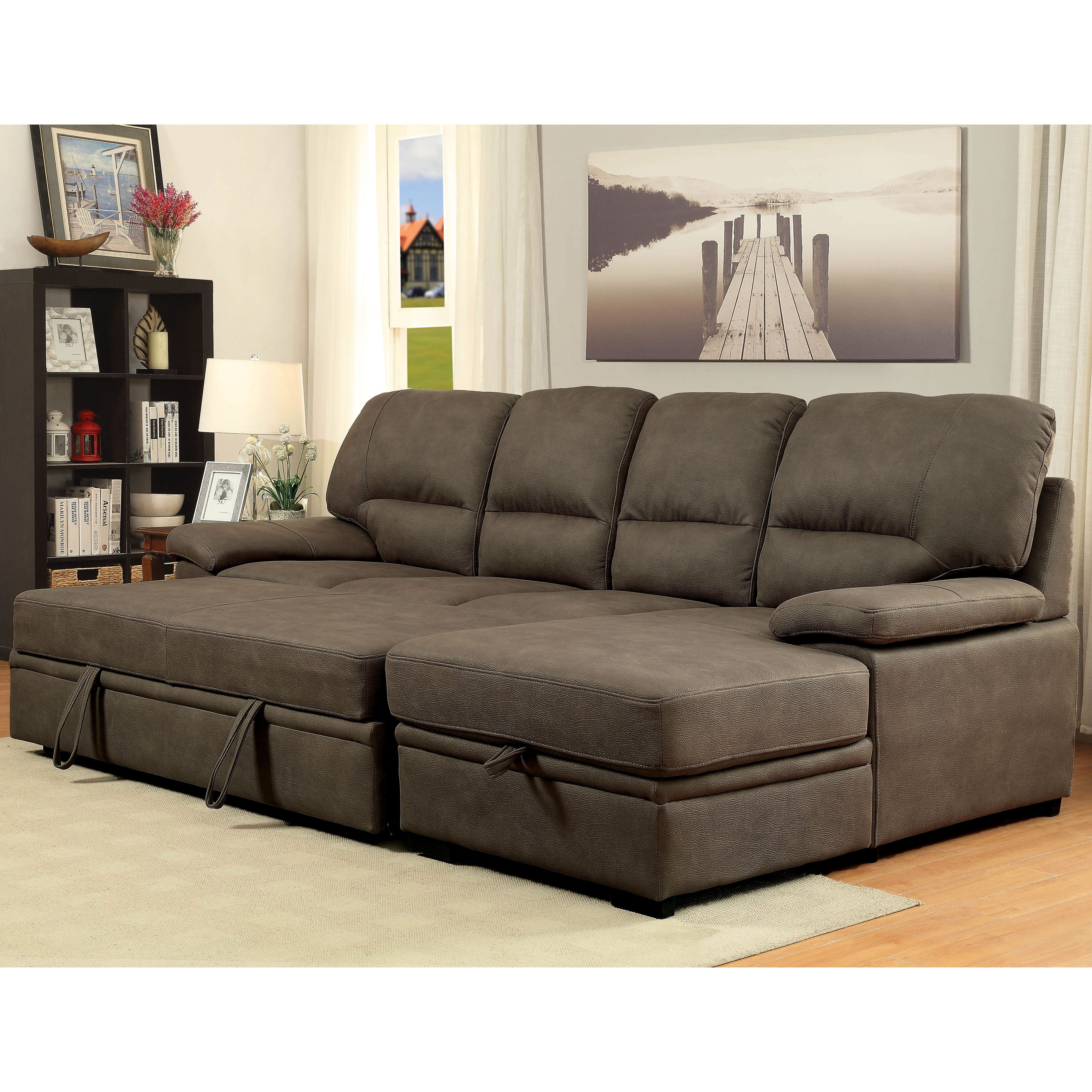 Furniture Of America Delton Contemporary Nubuck Leather Sleeper Sectional Free Shipping Today 10539042