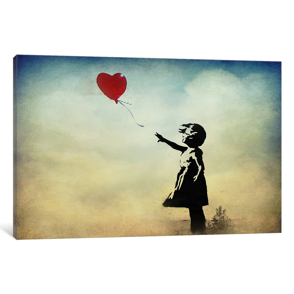 iCanvas Banksy Girl with a Balloon Watercolor Canvas Wall Art - Free ...