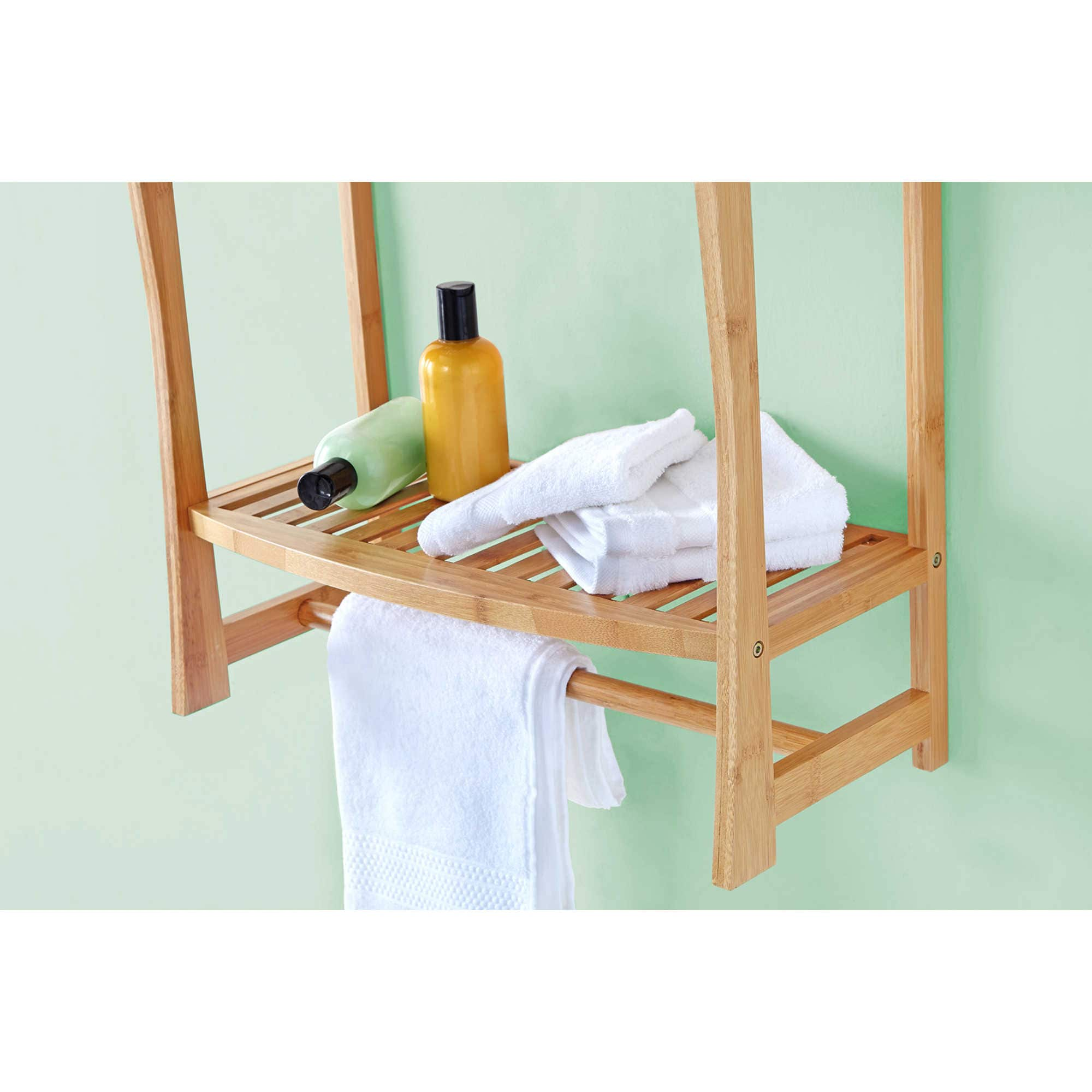 or shower at only bamboo shelf bench seat with product