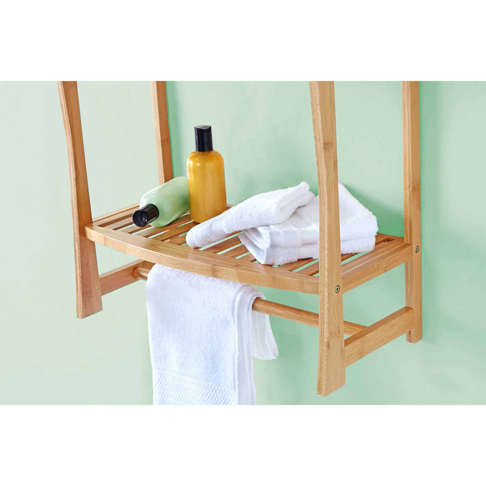Shop Best Living Bamboo Bath Wall-mount Shelf with Towel Bar - N/A ...