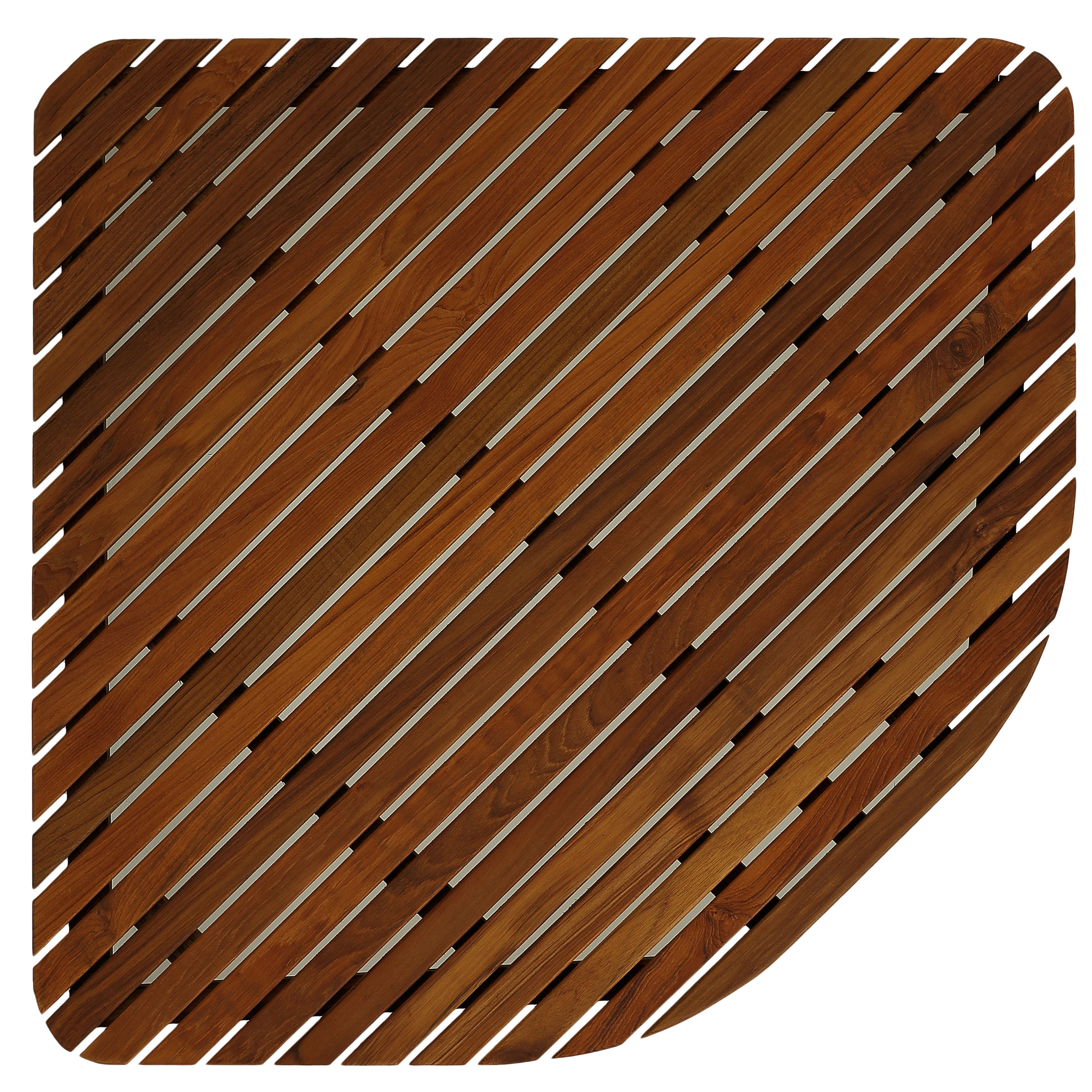 Bare Decor Erika Corner Shower Spa Mat in Solid Teak Wood and Oiled Finish,  X-Large, 30x 30 - Free Shipping Today - Overstock.com - 17621160