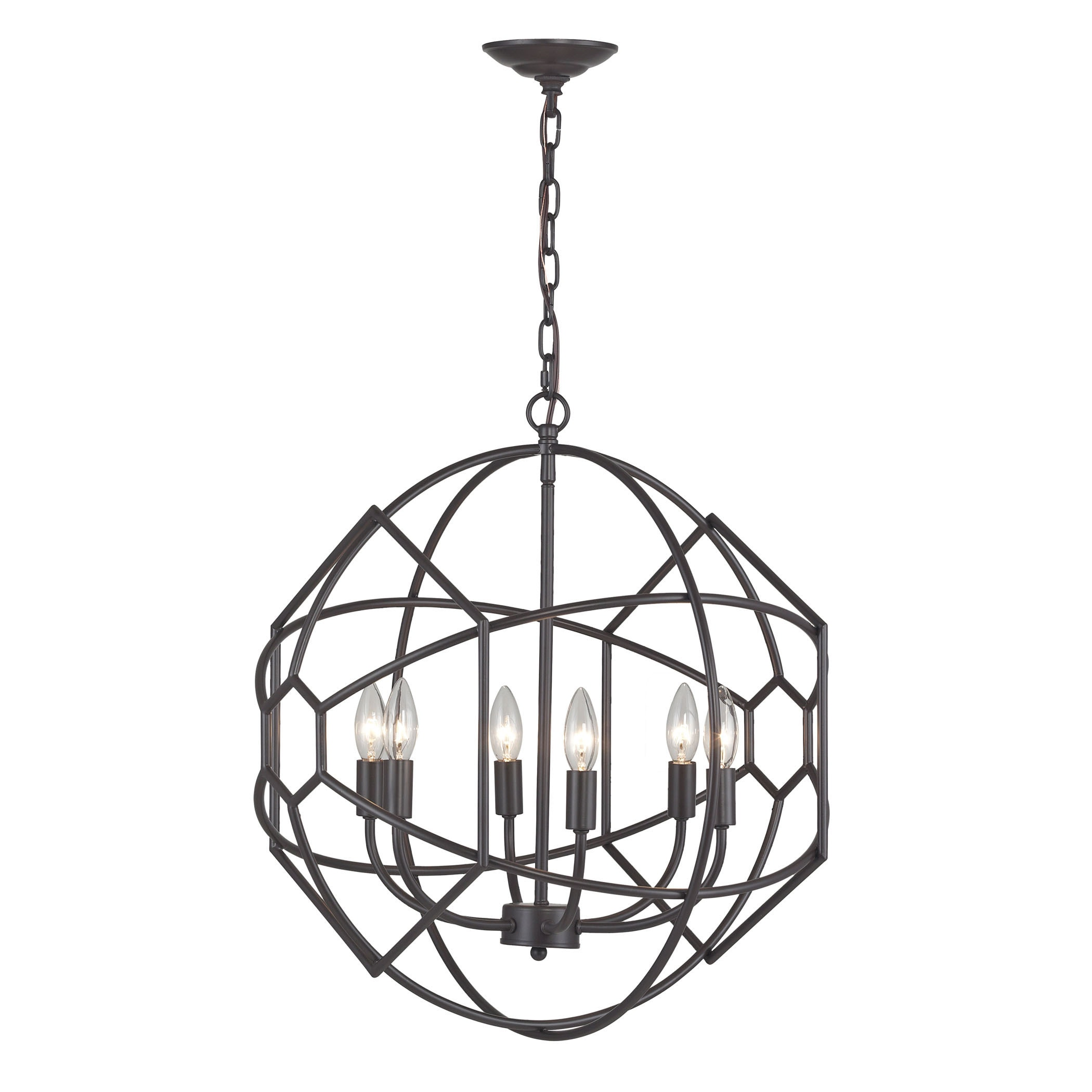 Sterling Strathroy 6 light Orb Chandelier With Honey b Metal