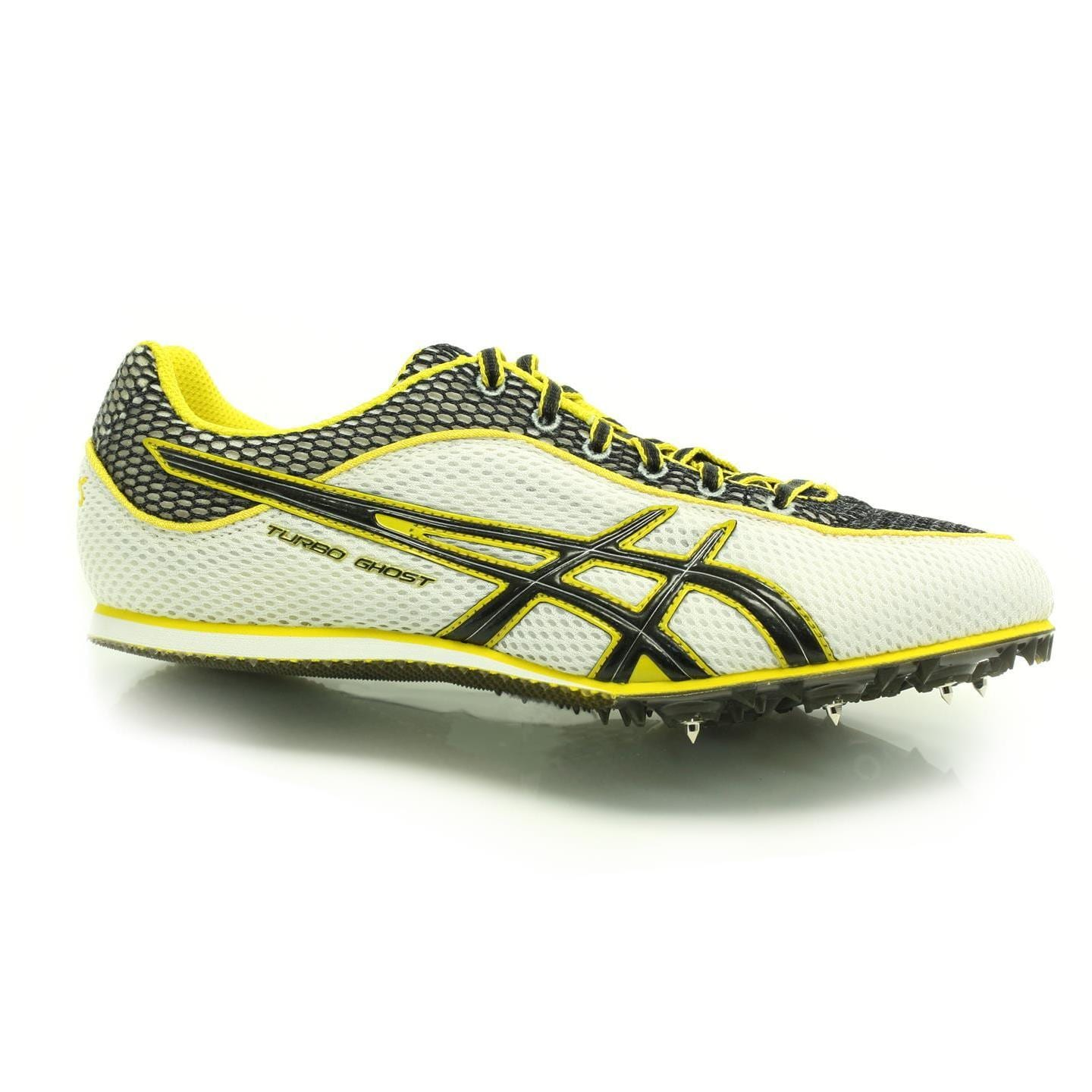 deafbabad215 Shop ASICS G003N 0190 Mens Turbo Ghost 3 Track Spikes White  Black  Yellow  - Free Shipping On Orders Over  45 - Overstock - 10541939