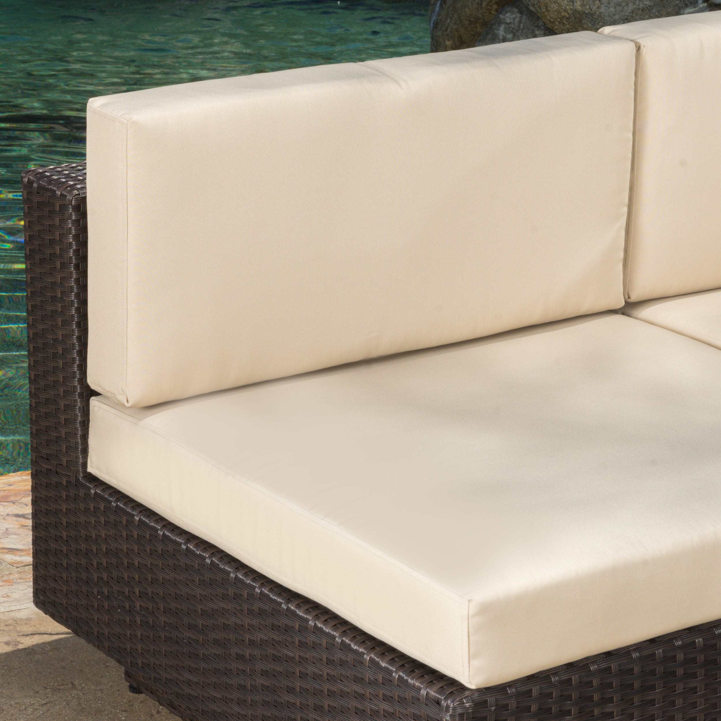 Santorini Outdoor 6-piece Brown Wicker Sofa Set with Cushions by ...