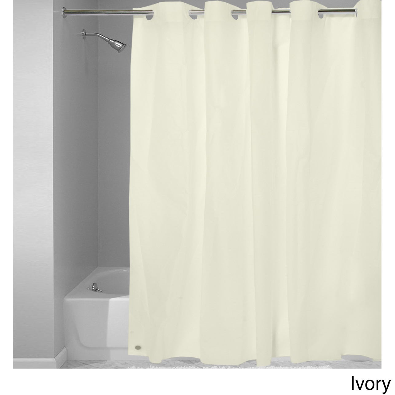 Easy On Shower Curtain Liner With Built In Hooks