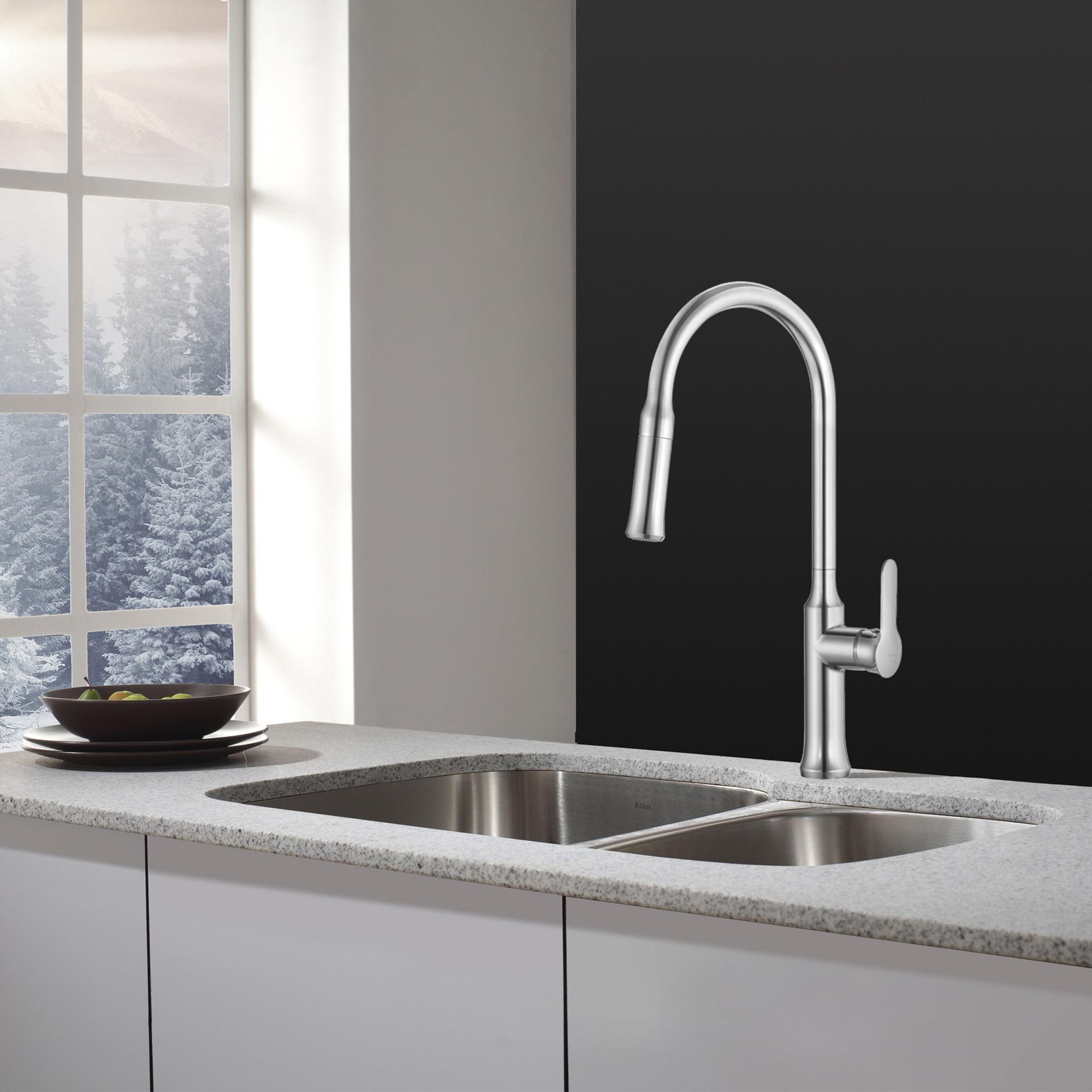 Shop KRAUS 32 Inch Undermount Double Bowl Stainless Steel Kitchen ...
