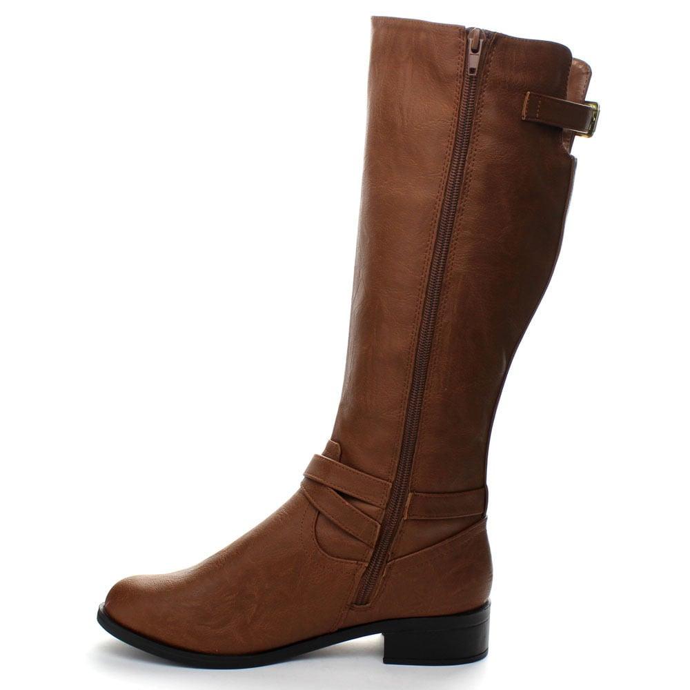 Soda Women Knee High Buckled Riding Small Heel Flat Boots Side Zipper BIO-S Brown 8.5