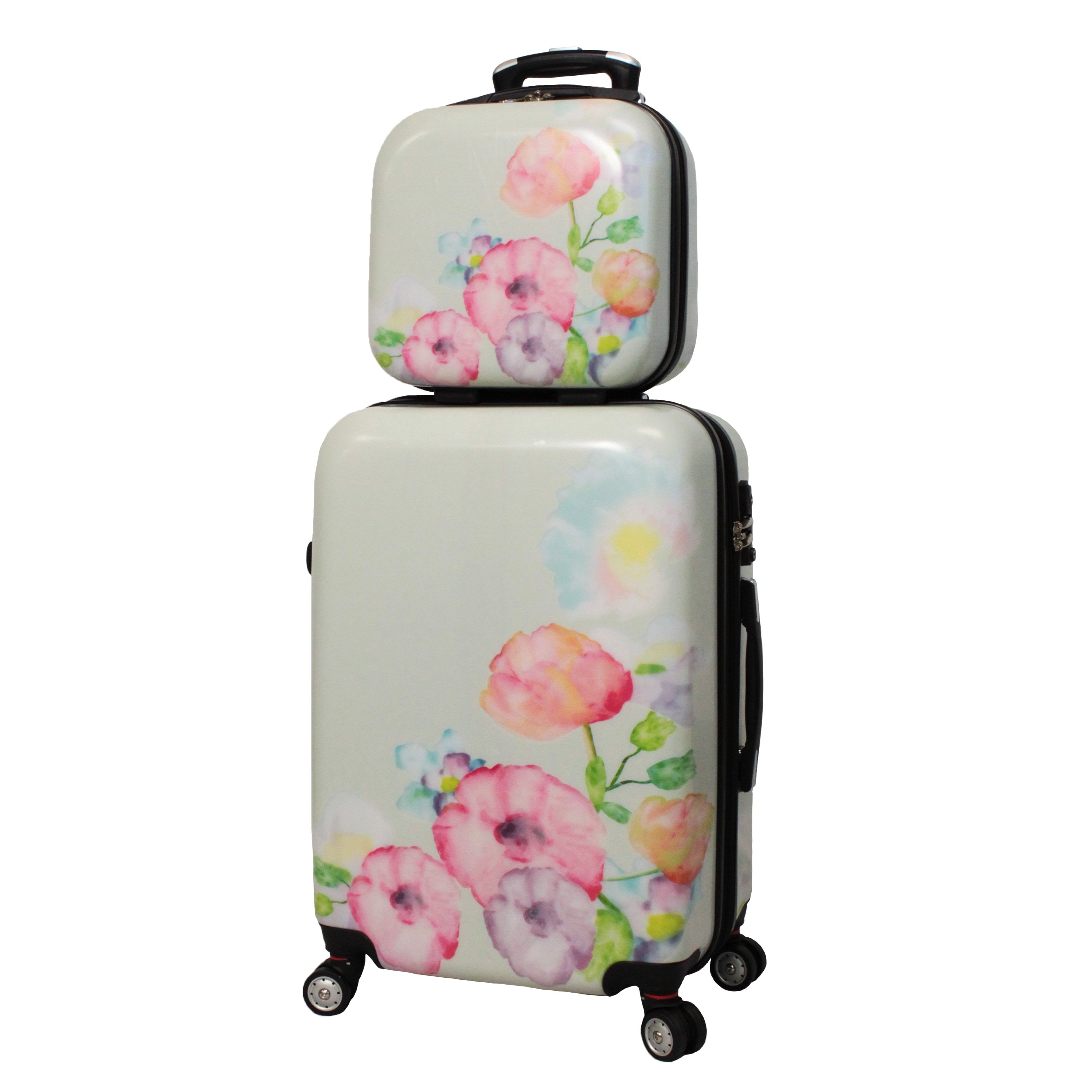 2f6d8dcd51975 Shop World Traveler Flower Bloom 4-piece Lightweight Hardside Spinner  Luggage Set - Free Shipping Today - Overstock - 10543368