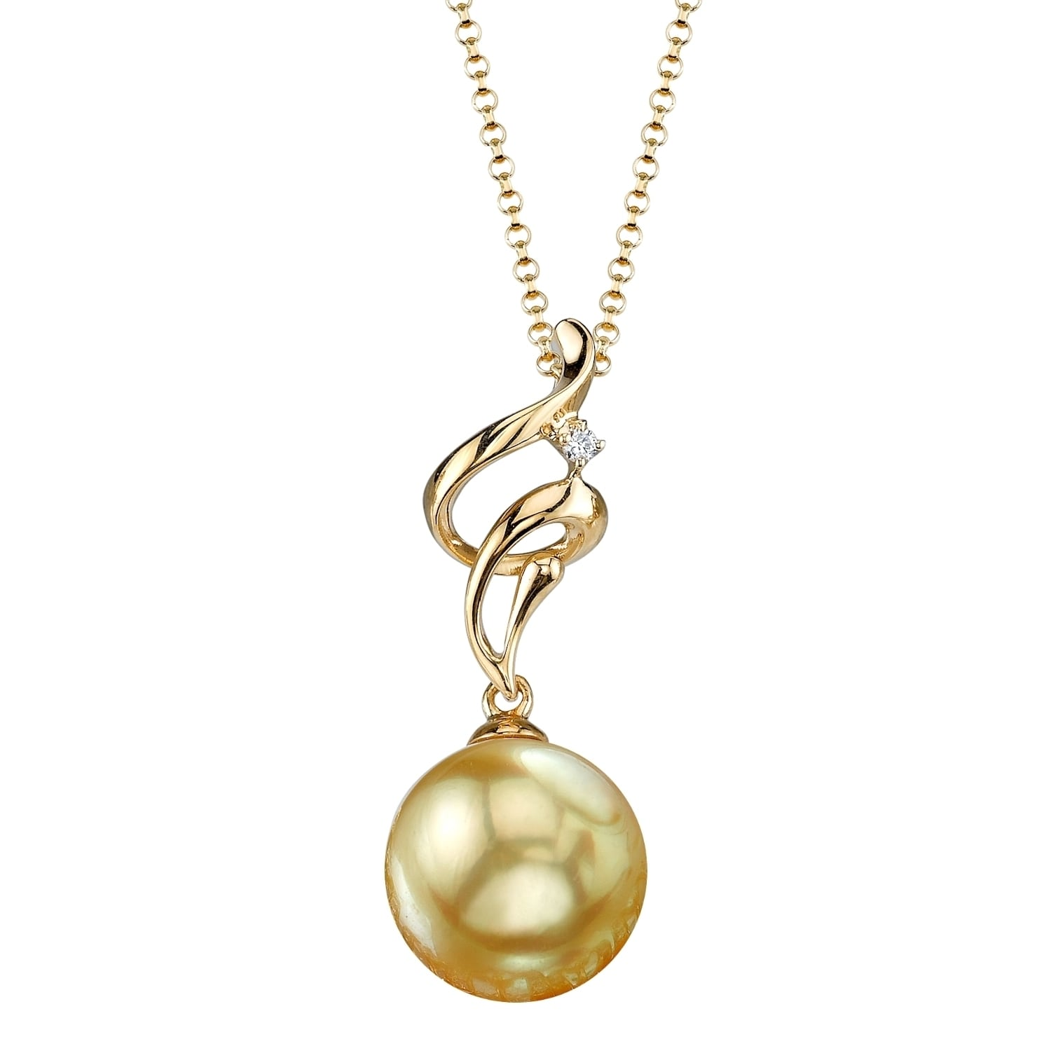 cbf1e5c91cc5a Radiance Pearl 18k Yellow Gold Golden South Sea Pearl Diamond Accent  Pendant (9-10mm, 10-11 mm)