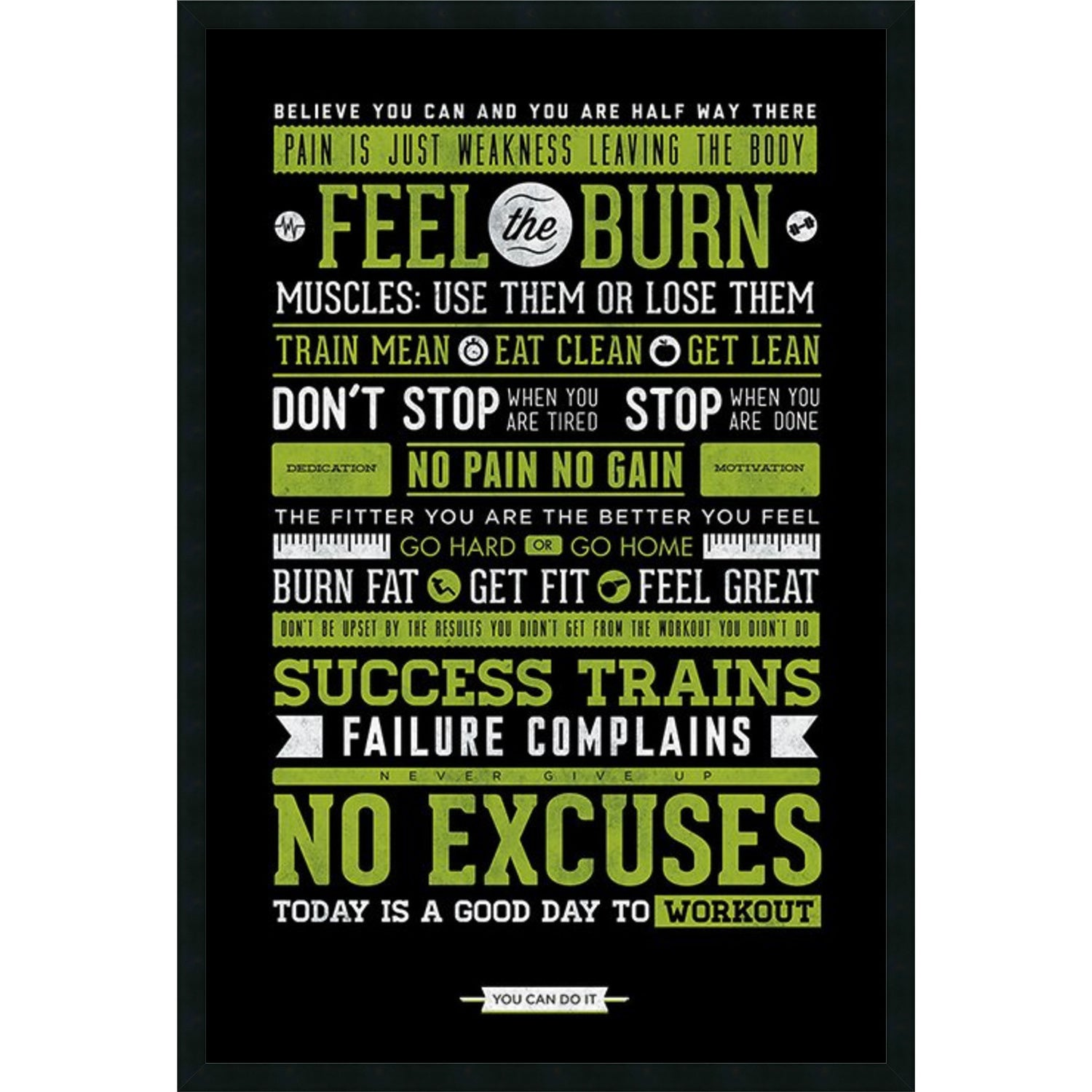 Framed art print gym motivational 26 x 38 inch free shipping framed art print gym motivational 26 x 38 inch free shipping today overstock 17626580 jeuxipadfo Image collections