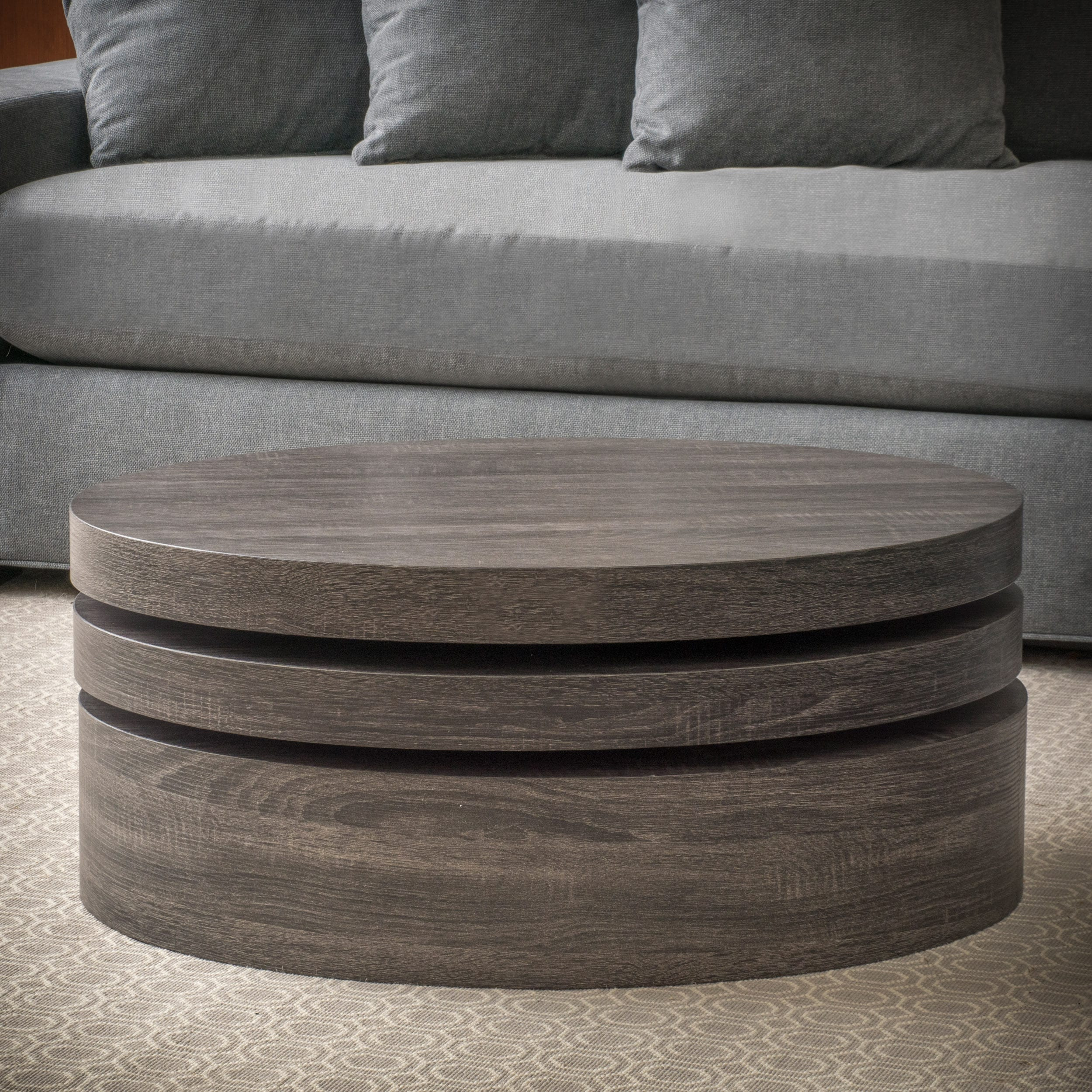 Carson Oval Mod Rotating Wood Coffee Table By Christopher Knight Home On Free Shipping Today 10546675