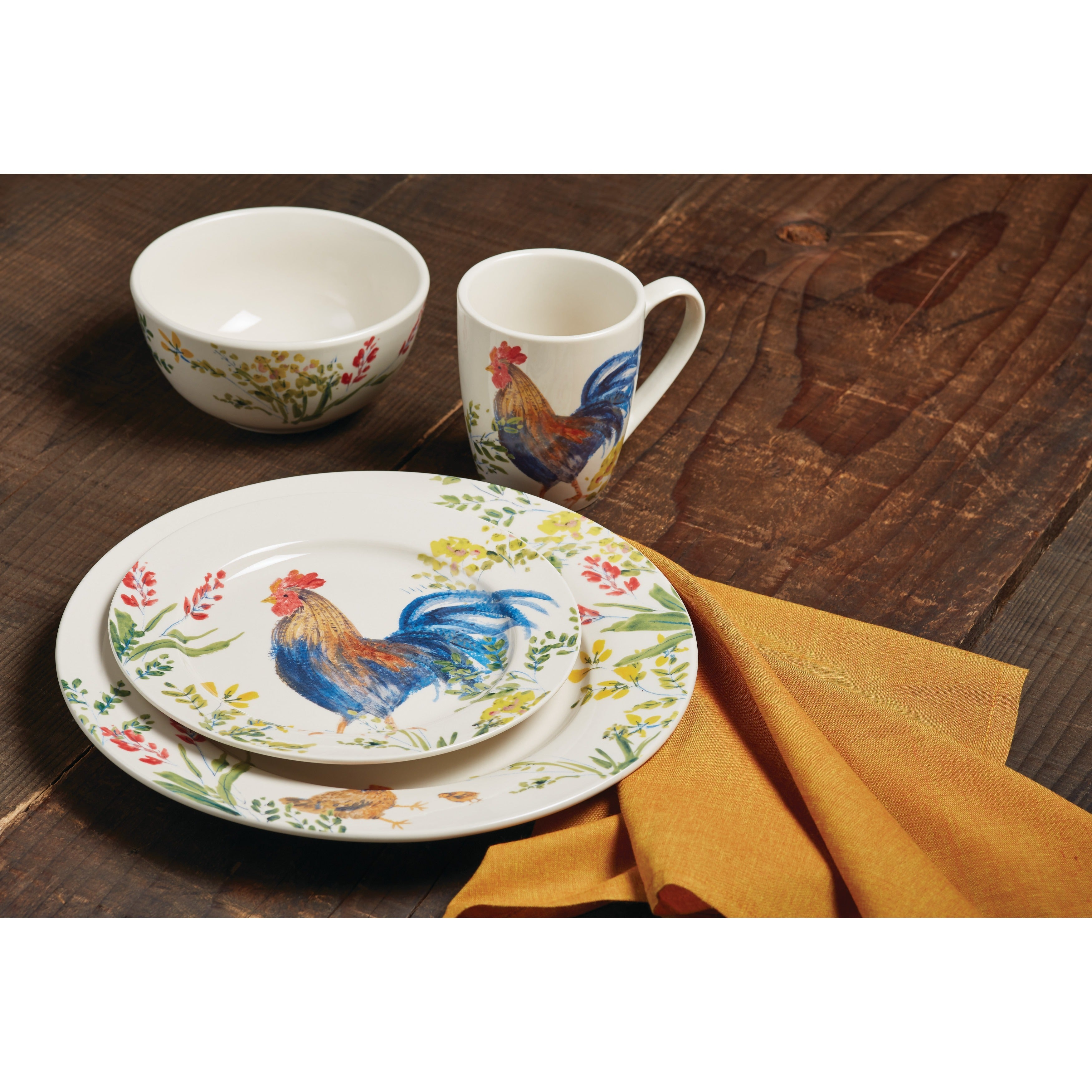 Paula Deen Dinnerware Garden Rooster 16 Piece Stoneware Set On Free Shipping Today 10547203