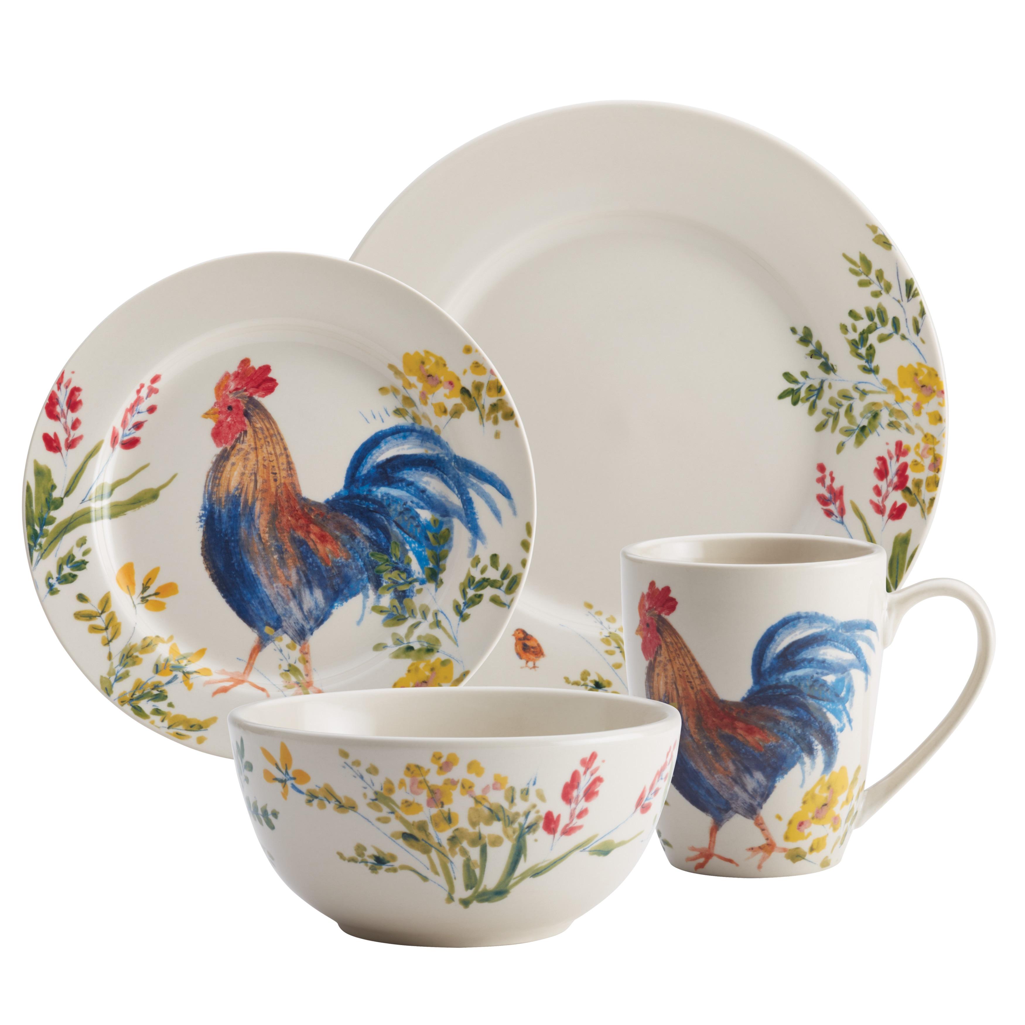Paula Deen Dinnerware Garden Rooster 16 Piece Stoneware Set Free Shipping Today 17627005