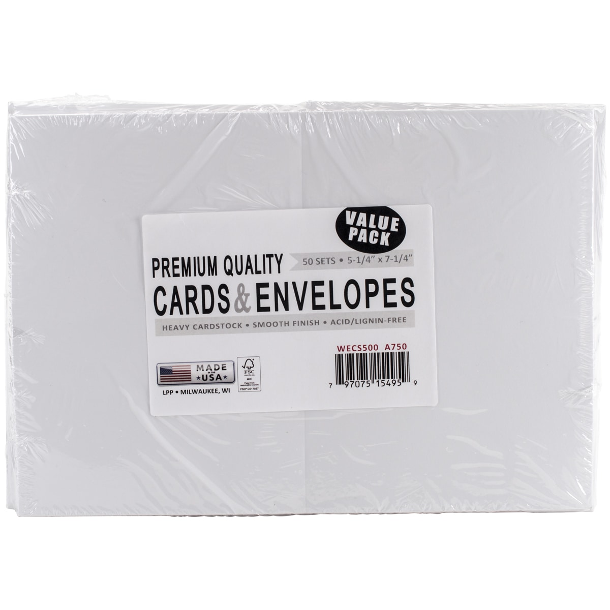 Leader A7 Greeting Cards Envelopes 525inx725in 50pkgwhite