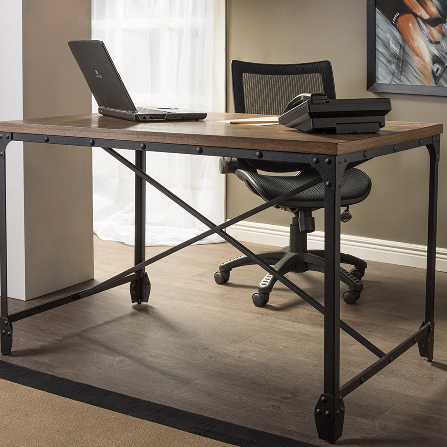 Carbon Loft Edelman Antique Bronze Wood Metal Home Office Desk Free Shipping Today 17629050