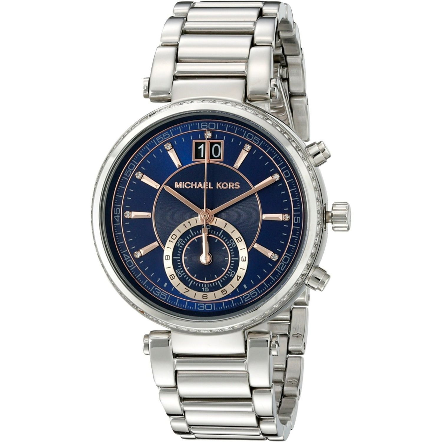 b5c6115ad6ba Shop Michael Kors Women s  Sawyer  Chronograph Crystal Stainless Steel Watch  - Free Shipping Today - Overstock - 10549408