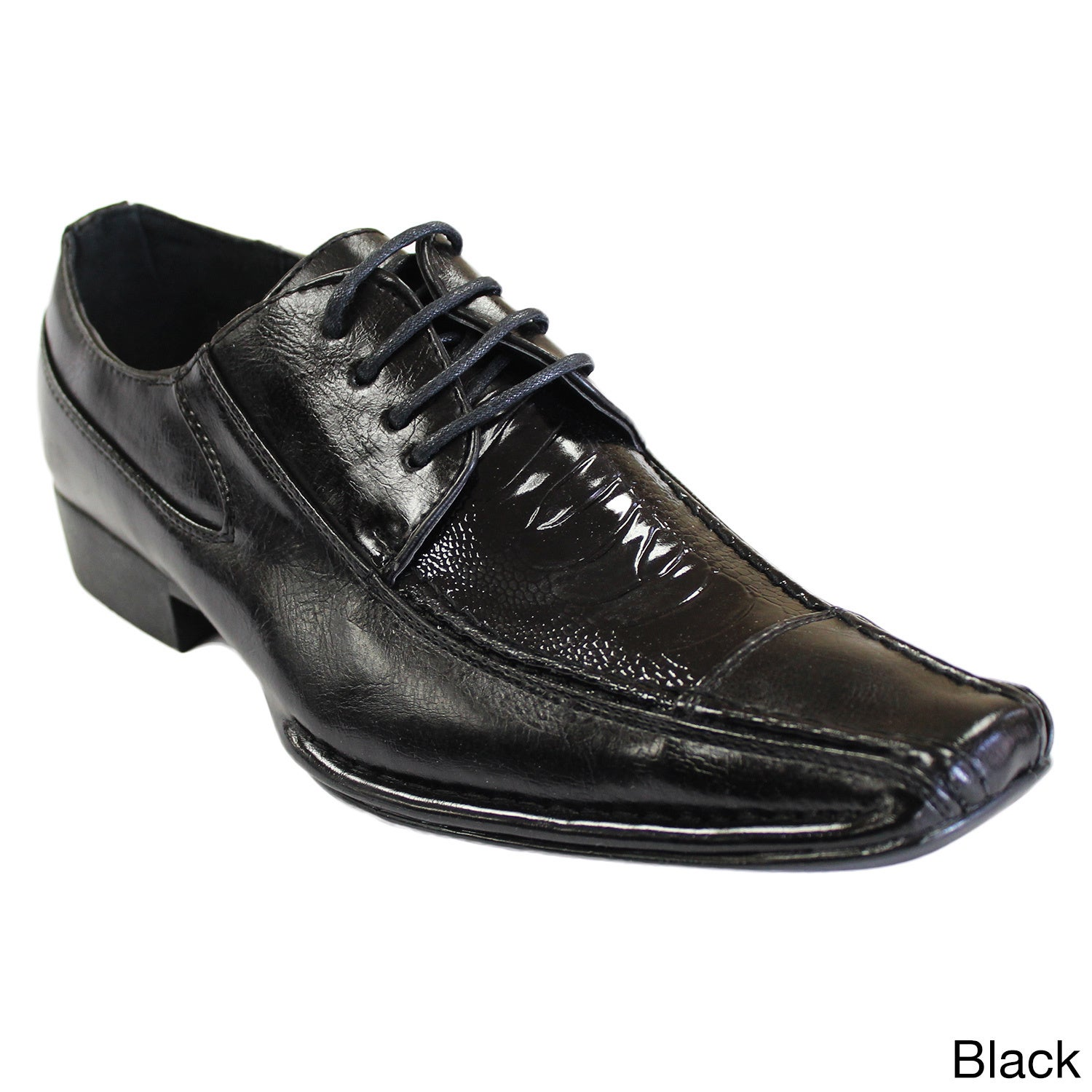 Men S Faux Leather Square Toe Lace Up Oxford Dress Shoes Free Shipping Today 10553797
