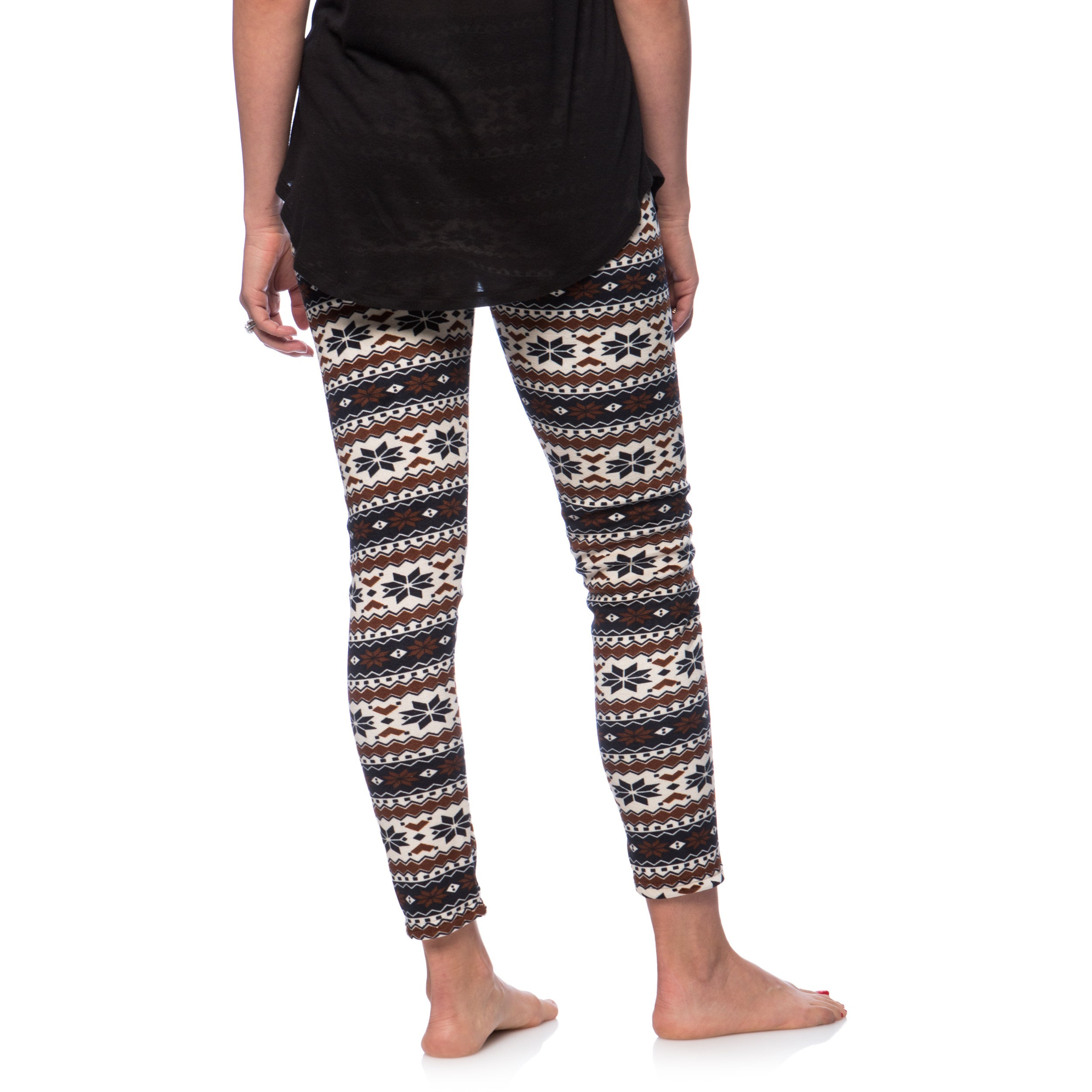 d814ca455bb6aa Shop Women's Fleece Lined Navy/ Brown Fair Isle Print Leggings - Free  Shipping On Orders Over $45 - Overstock - 10553997