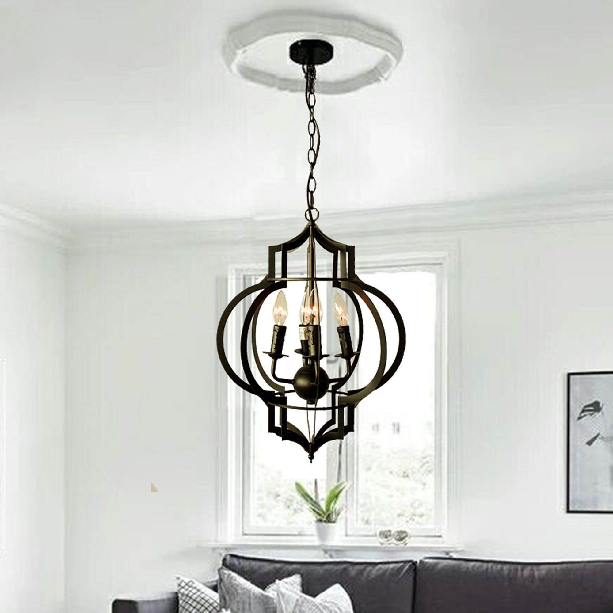 Addison 4 Light Black Finished 17 Inch Chandelier With Bulbs On Free Today Com 10554020