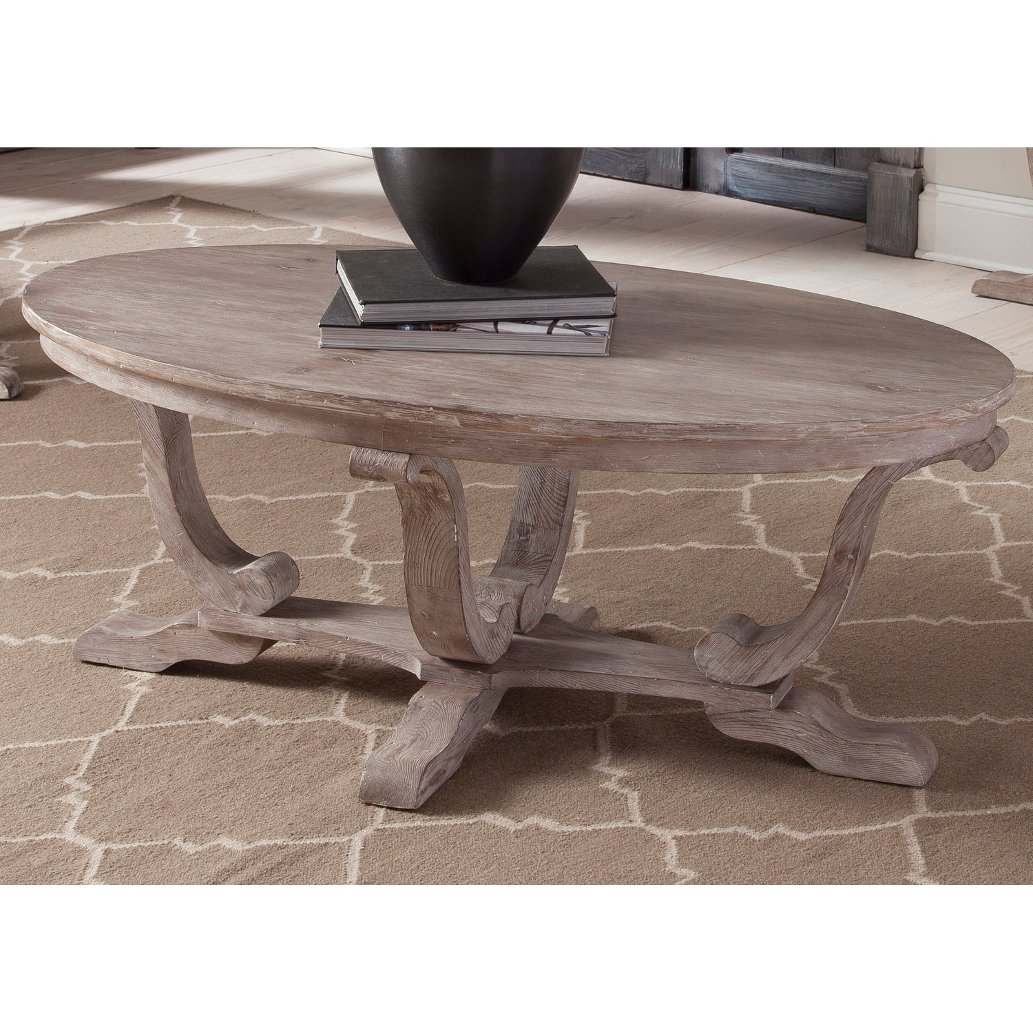 Greystone Mill Stone White Wash Oval Cocktail Table Free