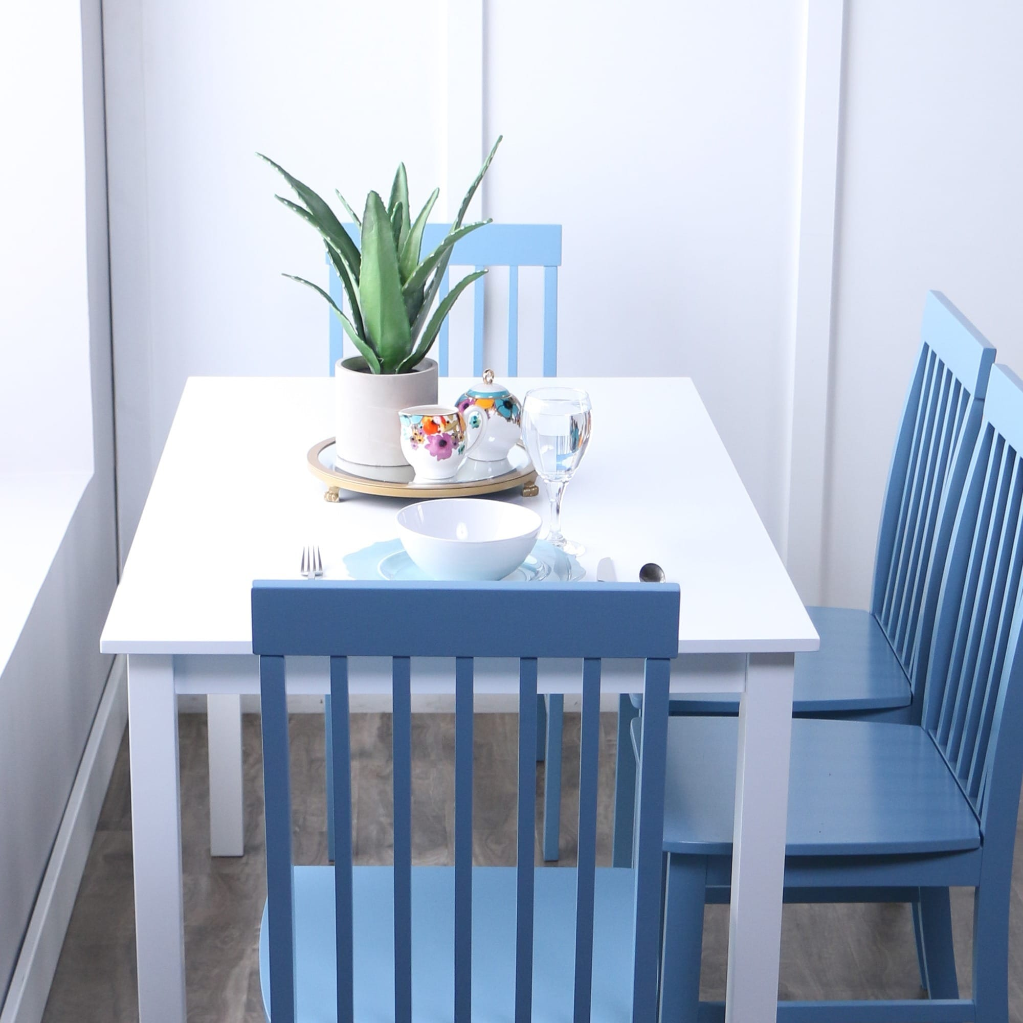 Havenside Home 5 Piece White And Powder Blue Dining Set   Free Shipping  Today   Overstock   17634234