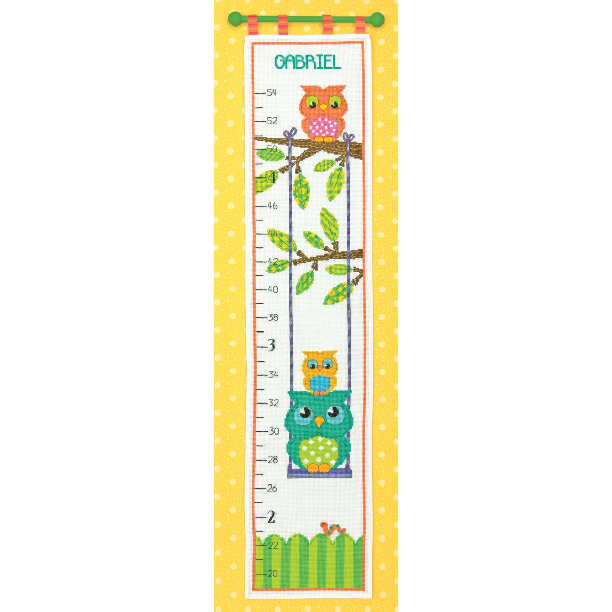 Shop Owl Growth Chart Counted Cross Stitch Kit9inx40in 14 Count