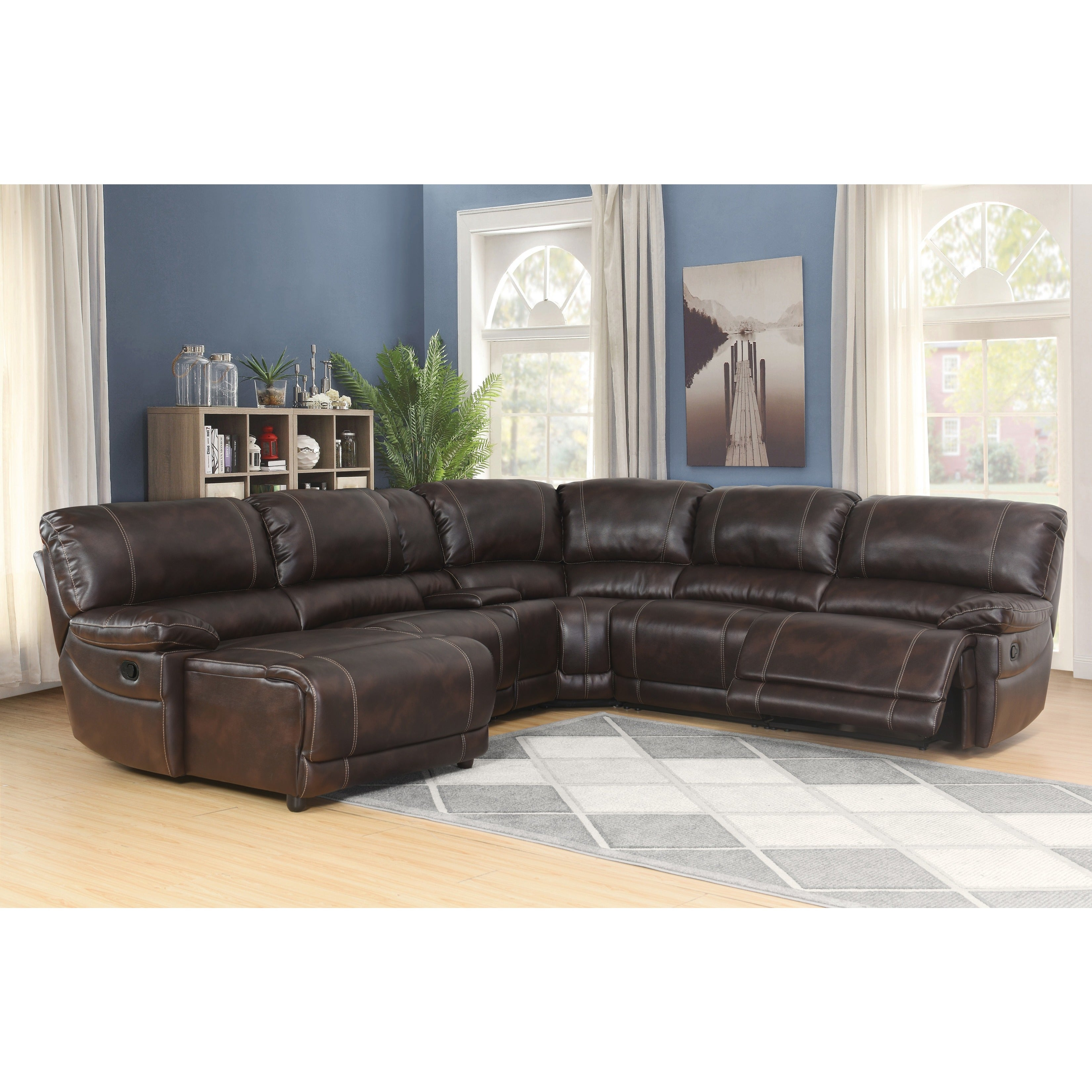 Shop Abbyson Cooper 6 Piece Dark Brown Sectional Sofa On Sale