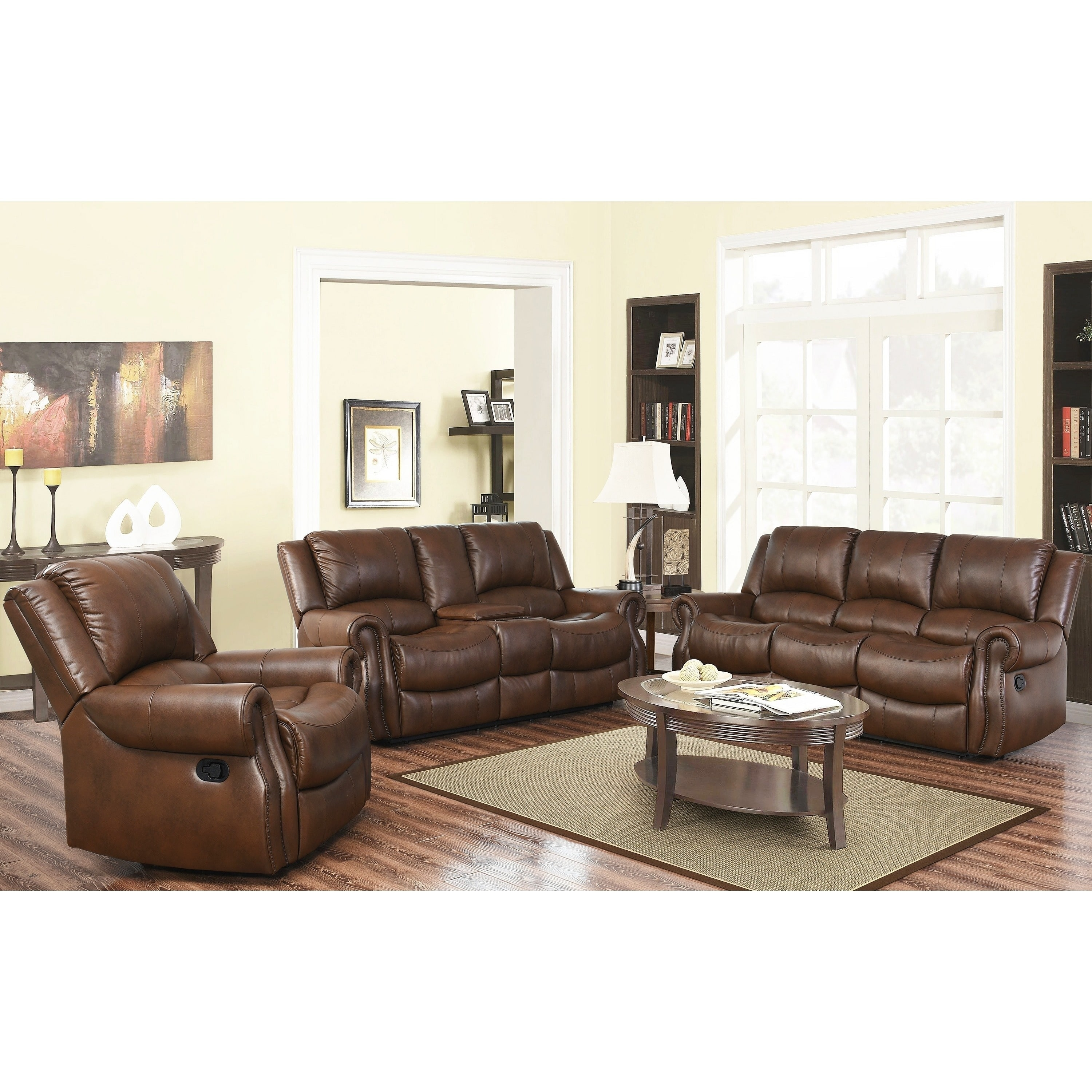Abbyson Calabasas Mesa Brown 3 Piece Reclining Living Room Set   Free  Shipping Today   Overstock.com   17634868