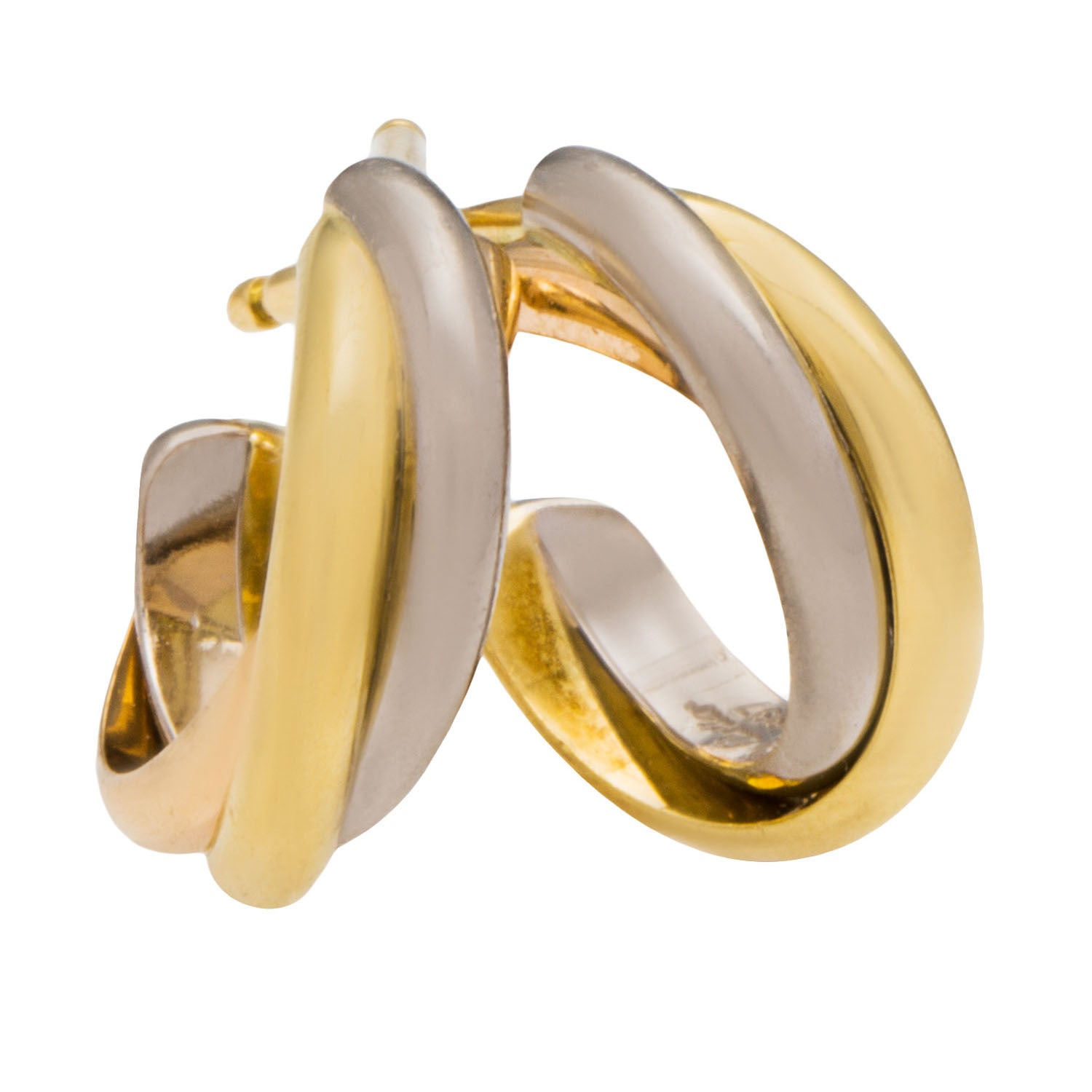 cartier clip de trinity logo double set earrings on c gold diamond in products