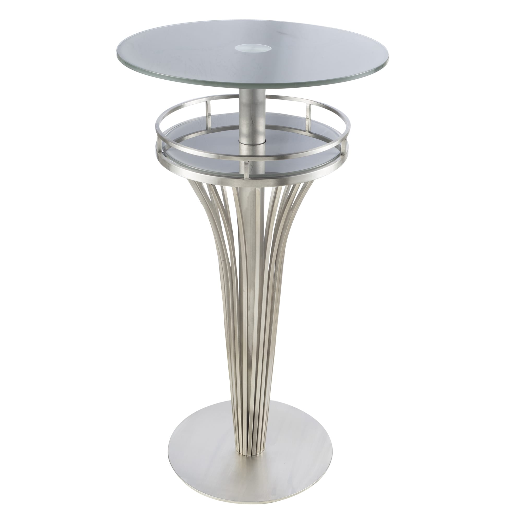 Shop yukon contemporary bar table in stainless steel and grey frosted tempered glass on sale free shipping today overstock com 10560804
