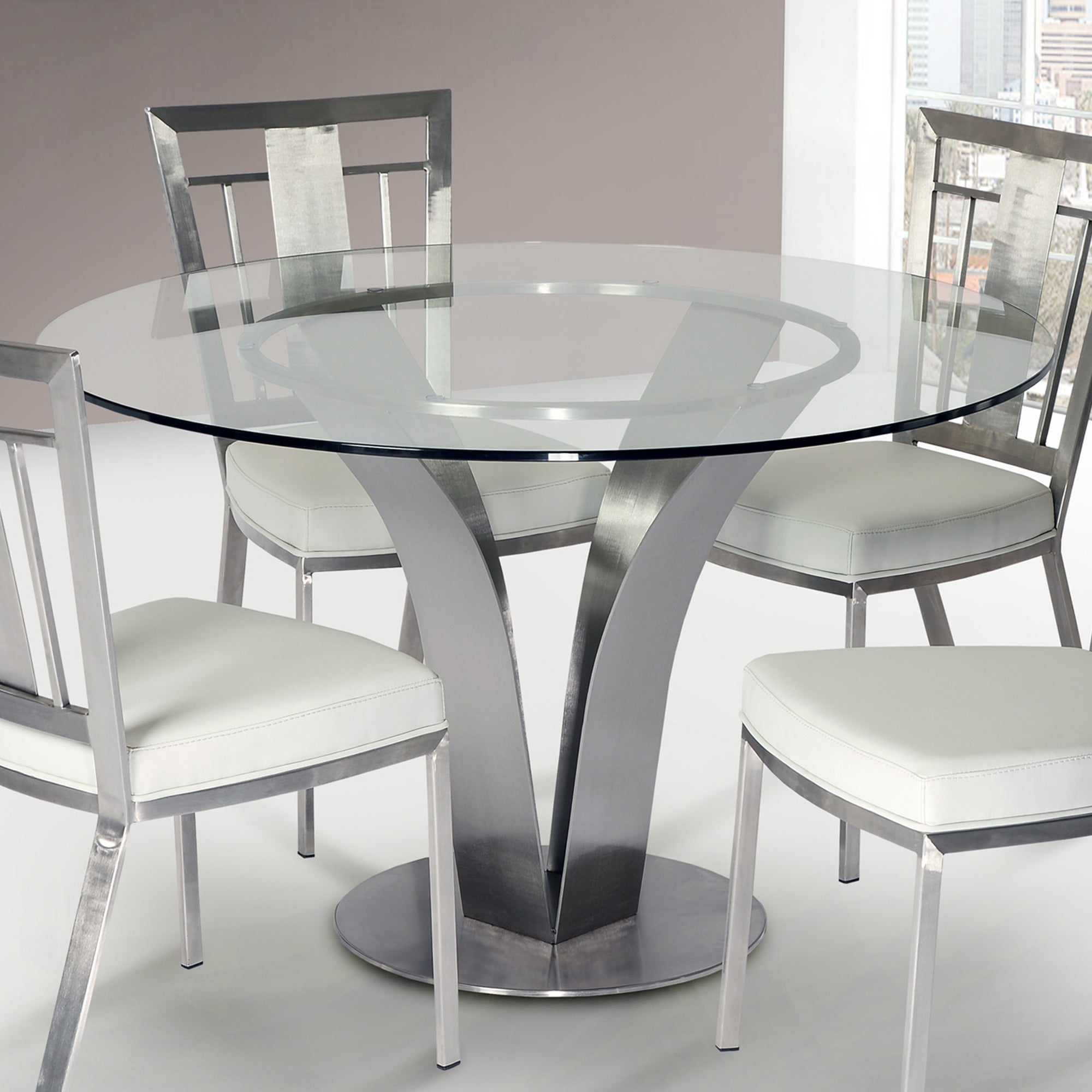 Shop cleo contemporary dining table in stainless steel with clear tempered glass silver free shipping today overstock com 10560845