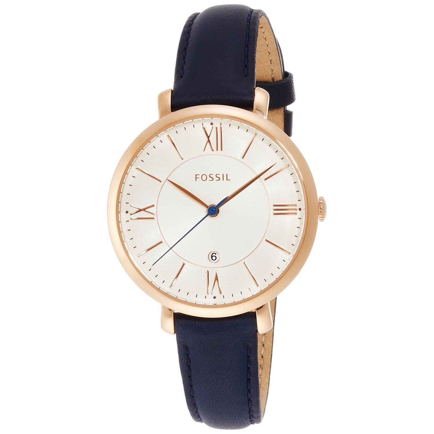 Shop Fossil Women\'s \'Jacqueline\' Blue Leather Watch - Free Shipping ...