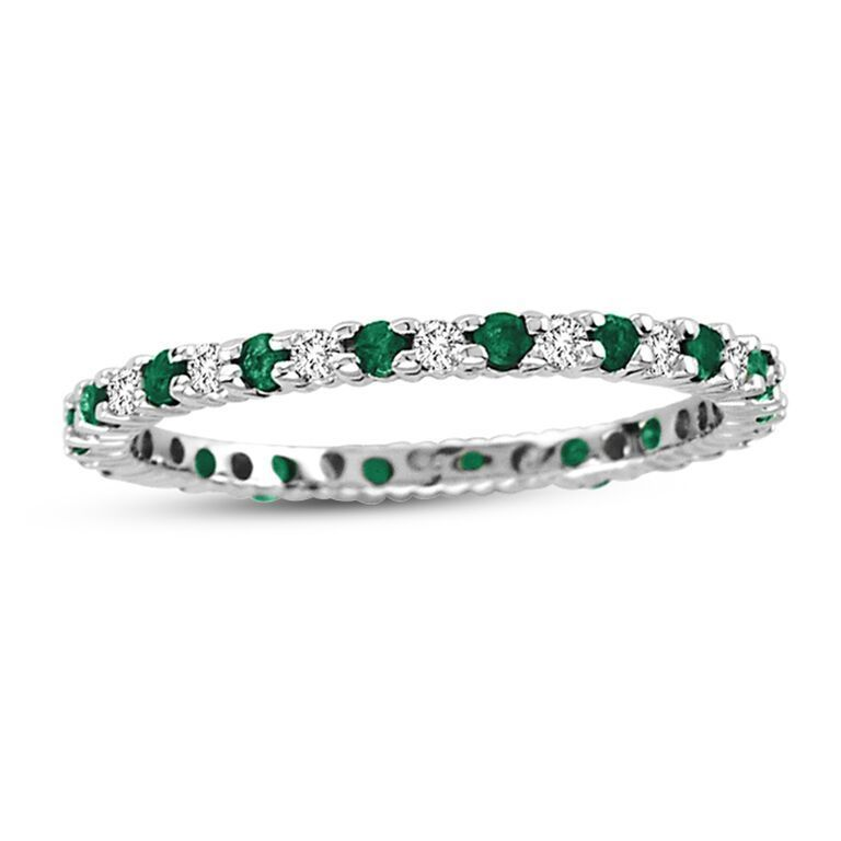 rings emerald jewelry amoro carat eternity fine white bands band square gold cut