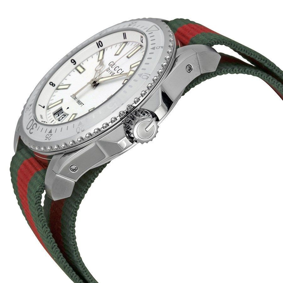 274b412ffe7 Shop Gucci Men s YA136207  Dive  Green and red Nylon Watch - White - Free  Shipping Today - Overstock - 10561479