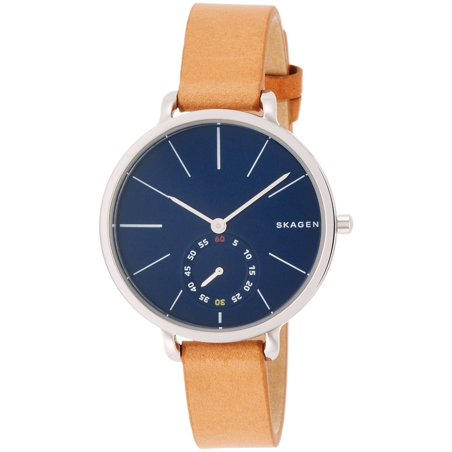 overstock leather watches skagen jewelry womens brown hagen women shipping watch s product today free