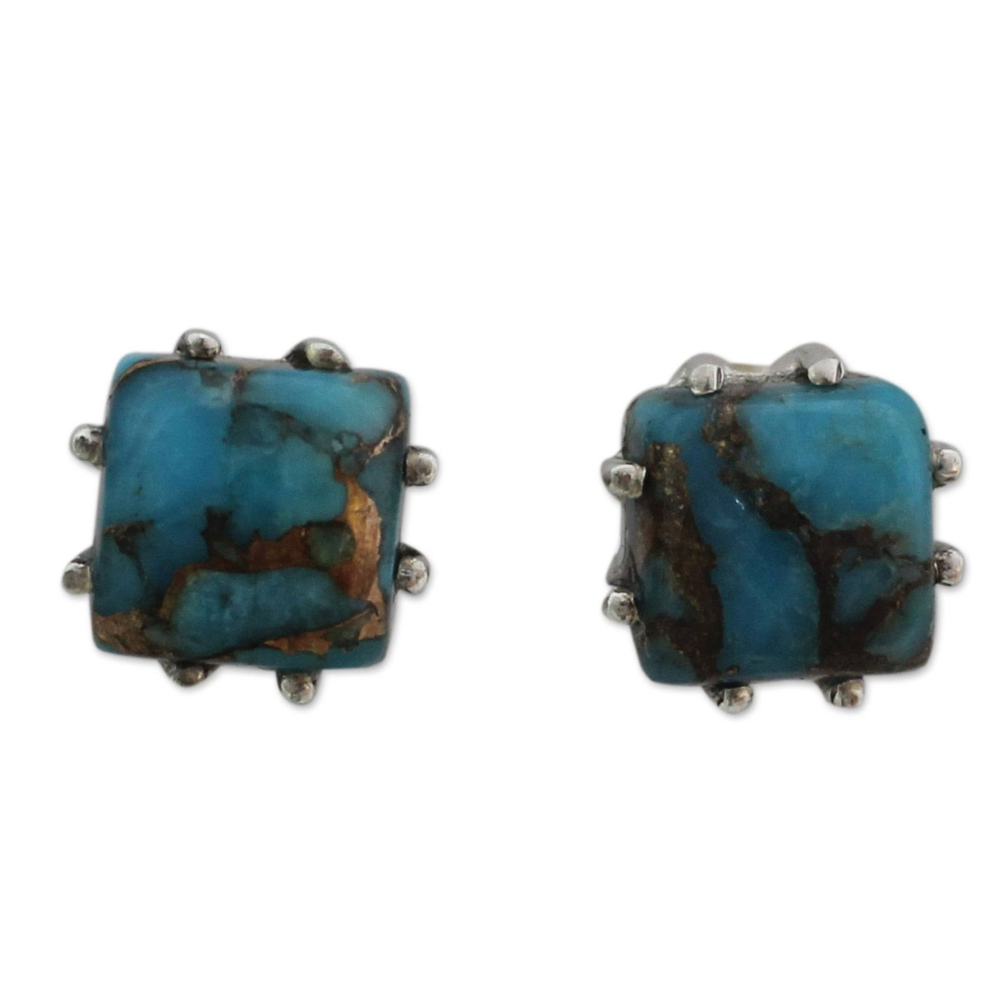 23704fd6e Shop Handmade Ocean Sky Composite Turquoise Gemstones with Claw Setting of Sterling  Silver Womens Post Earrings (India) - Free Shipping On Orders Over $45 ...